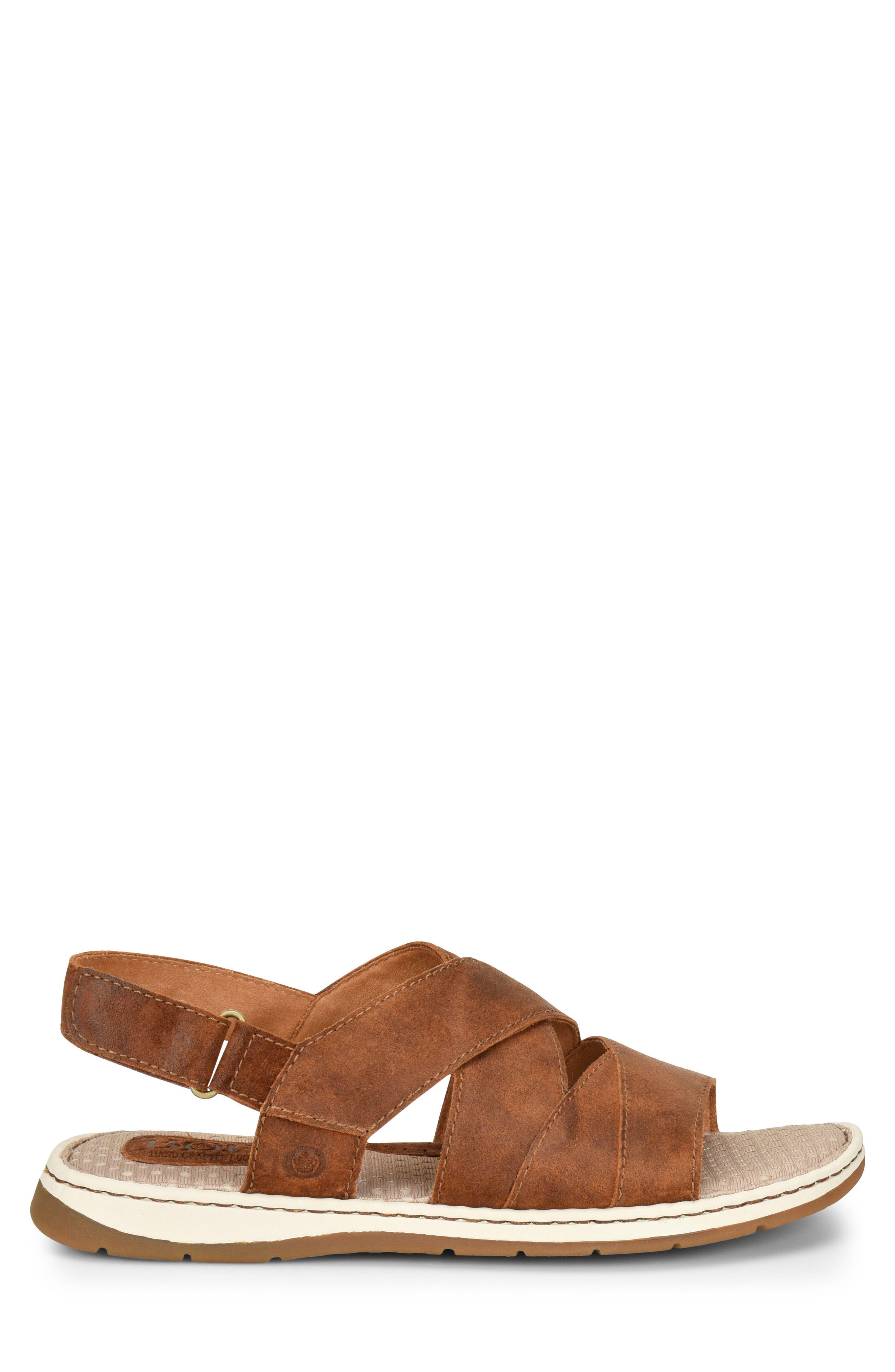 Shell Cross Strap Sandal,                             Alternate thumbnail 3, color,                             Rust Leather