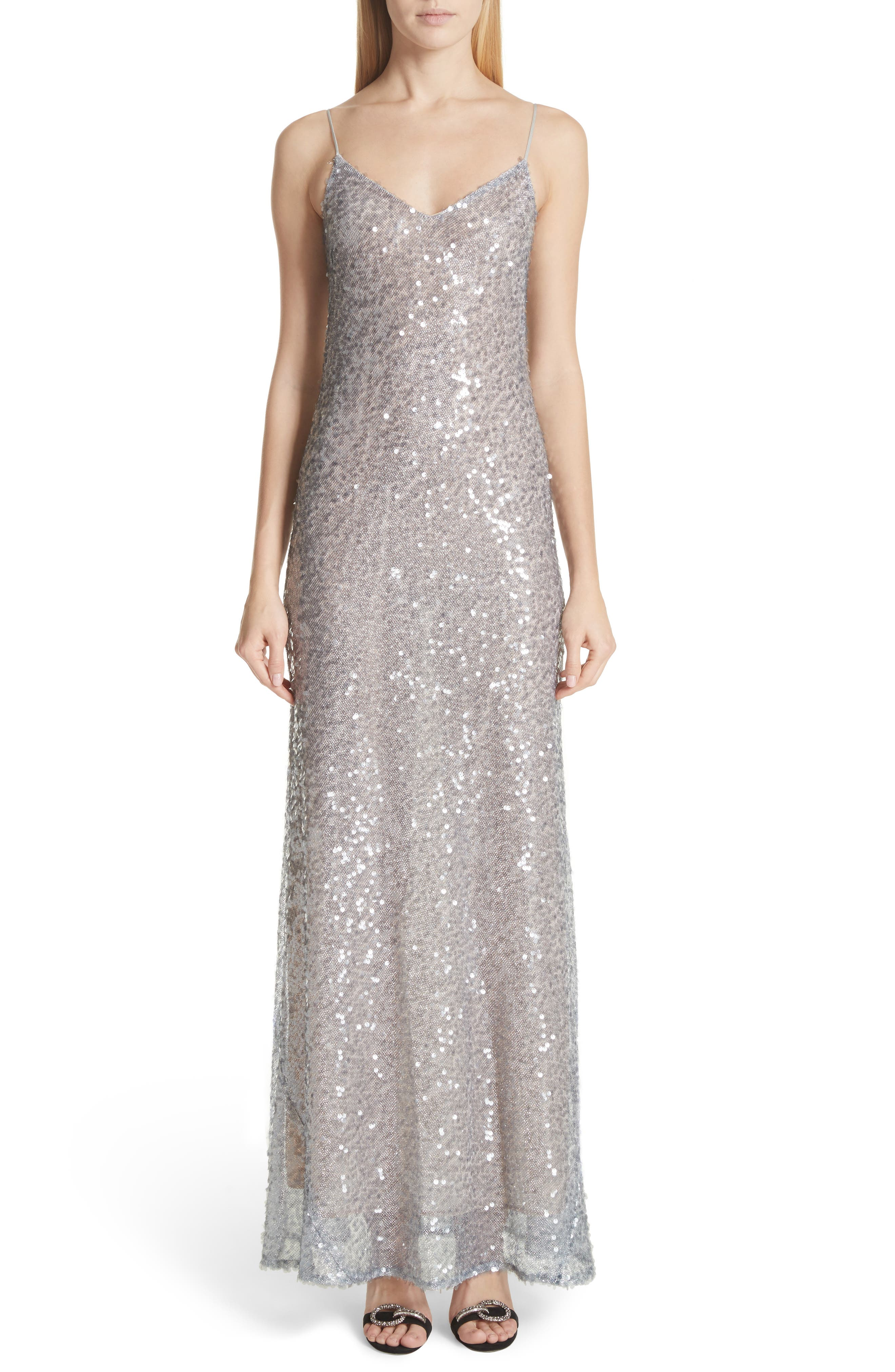 Sequin Gown,                         Main,                         color, Silver