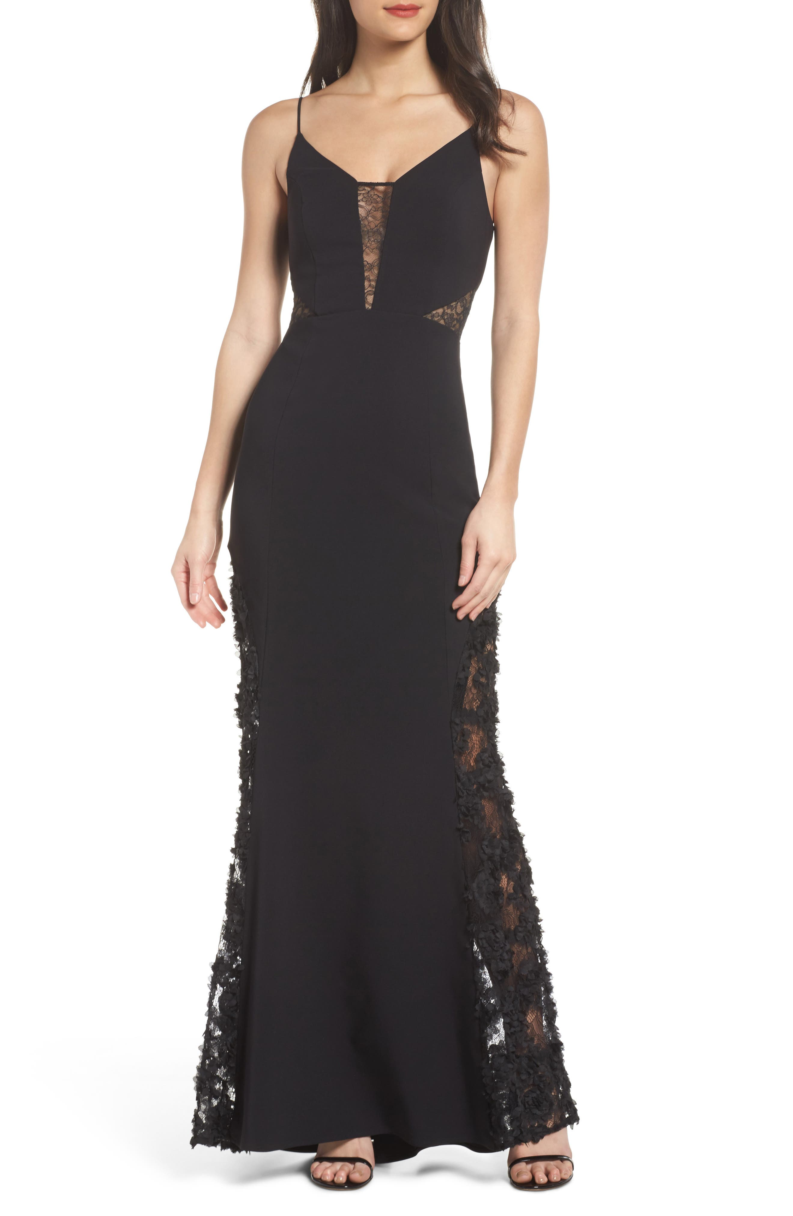 Darla Lace Inset Trumpet Gown,                         Main,                         color, Black
