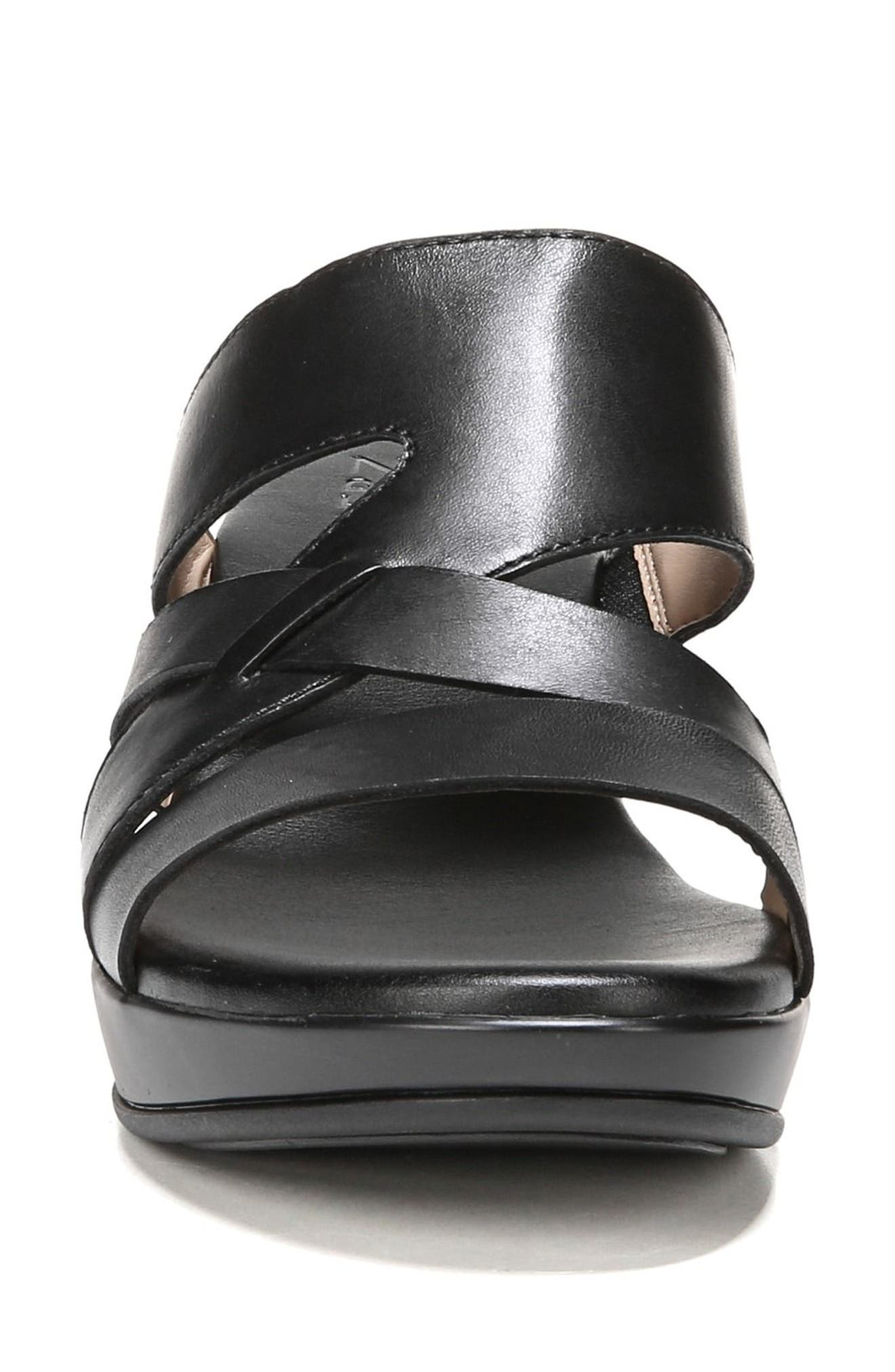 Vivy Wedge Sandal,                             Alternate thumbnail 4, color,                             Black Leather