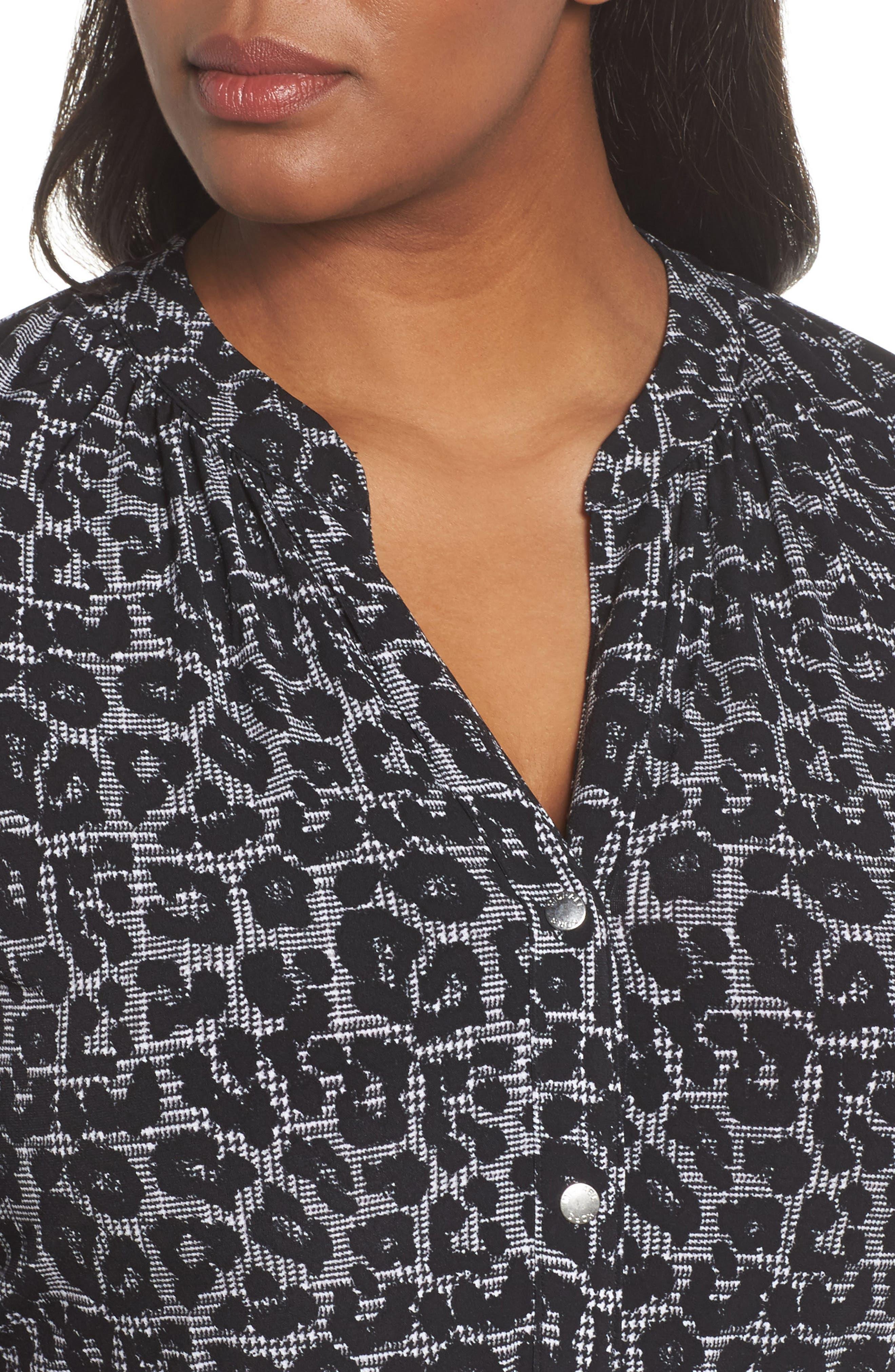 Leopard Plaid Shirtdress,                             Alternate thumbnail 4, color,                             Black