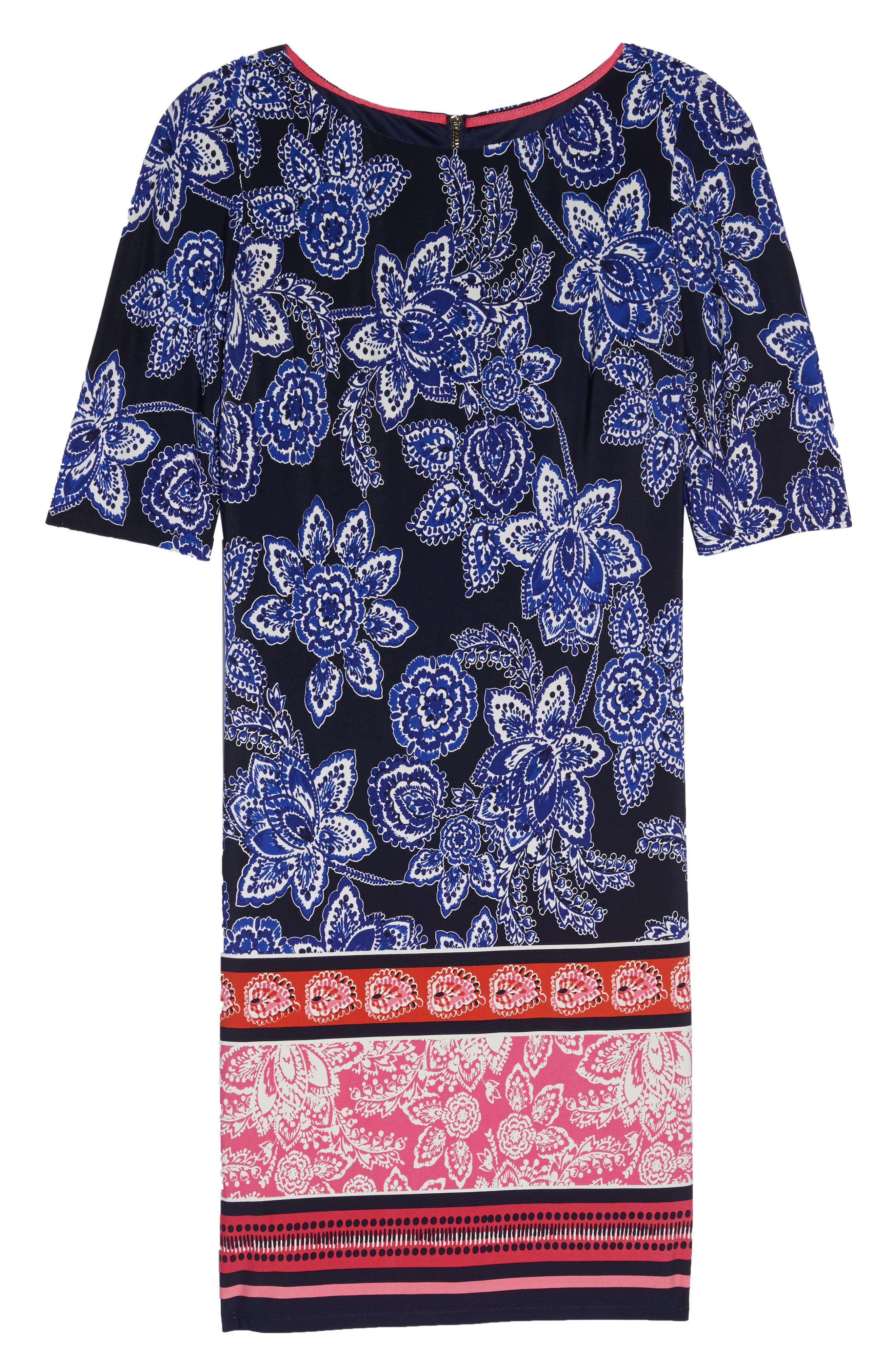 Print Shift Dress,                             Alternate thumbnail 6, color,                             Navy/ Pink/ Orange