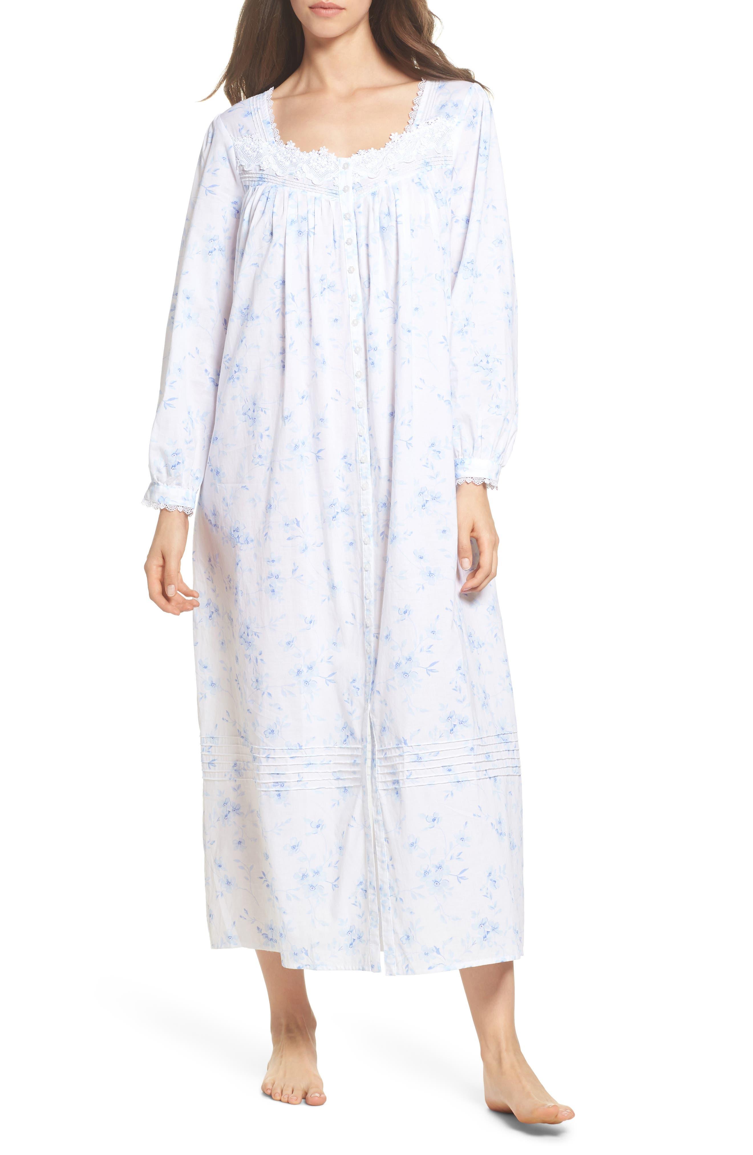 Cotton Lawn Ballet Nightgown,                         Main,                         color, White Mono Floral