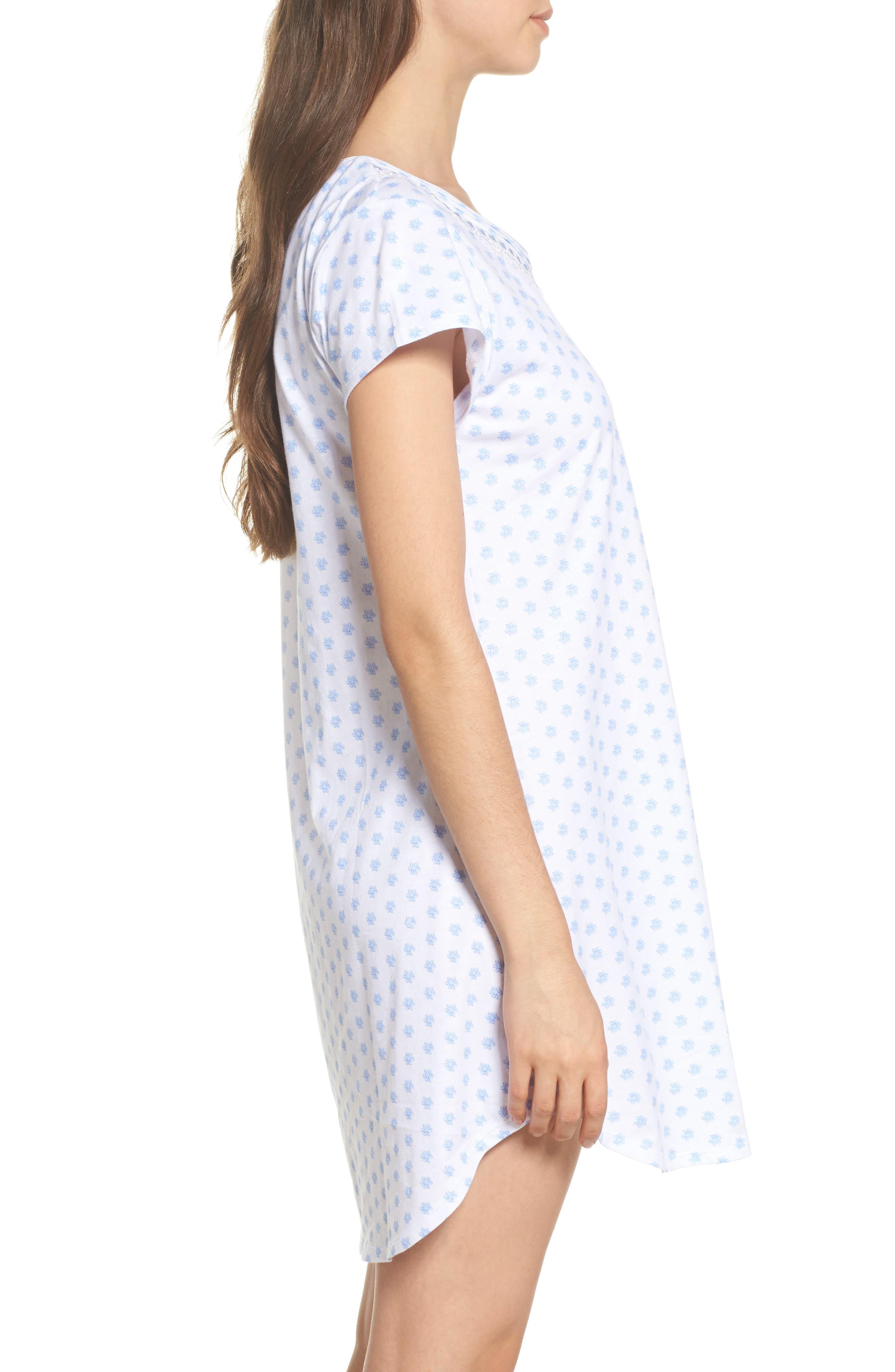 Jersey Sleep Shirt,                             Alternate thumbnail 3, color,                             White Blue Geo