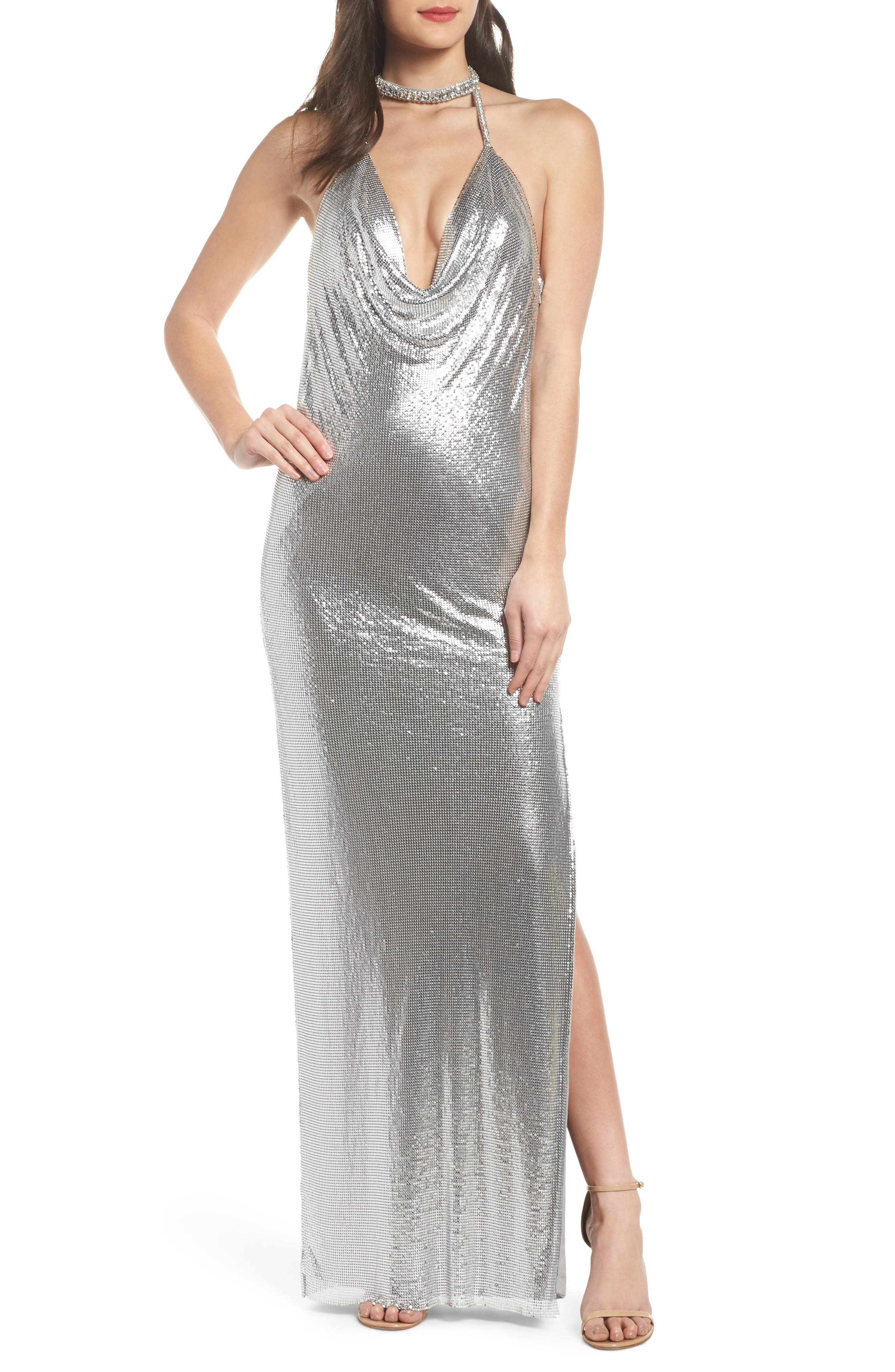 Jeweled Choker Column Gown,                         Main,                         color, Silver