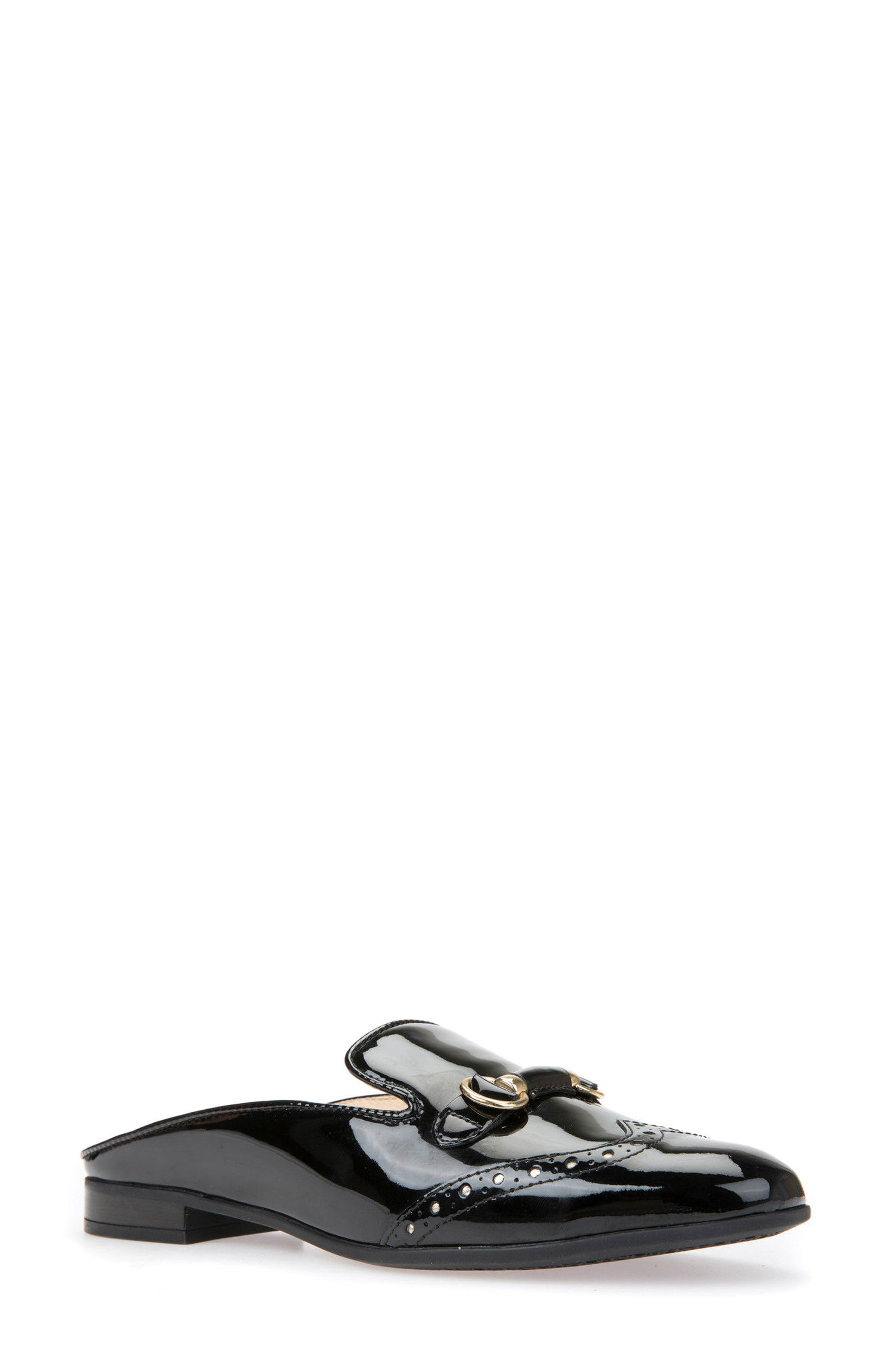 Marlyna Wingtip Mule,                         Main,                         color, Black Leather