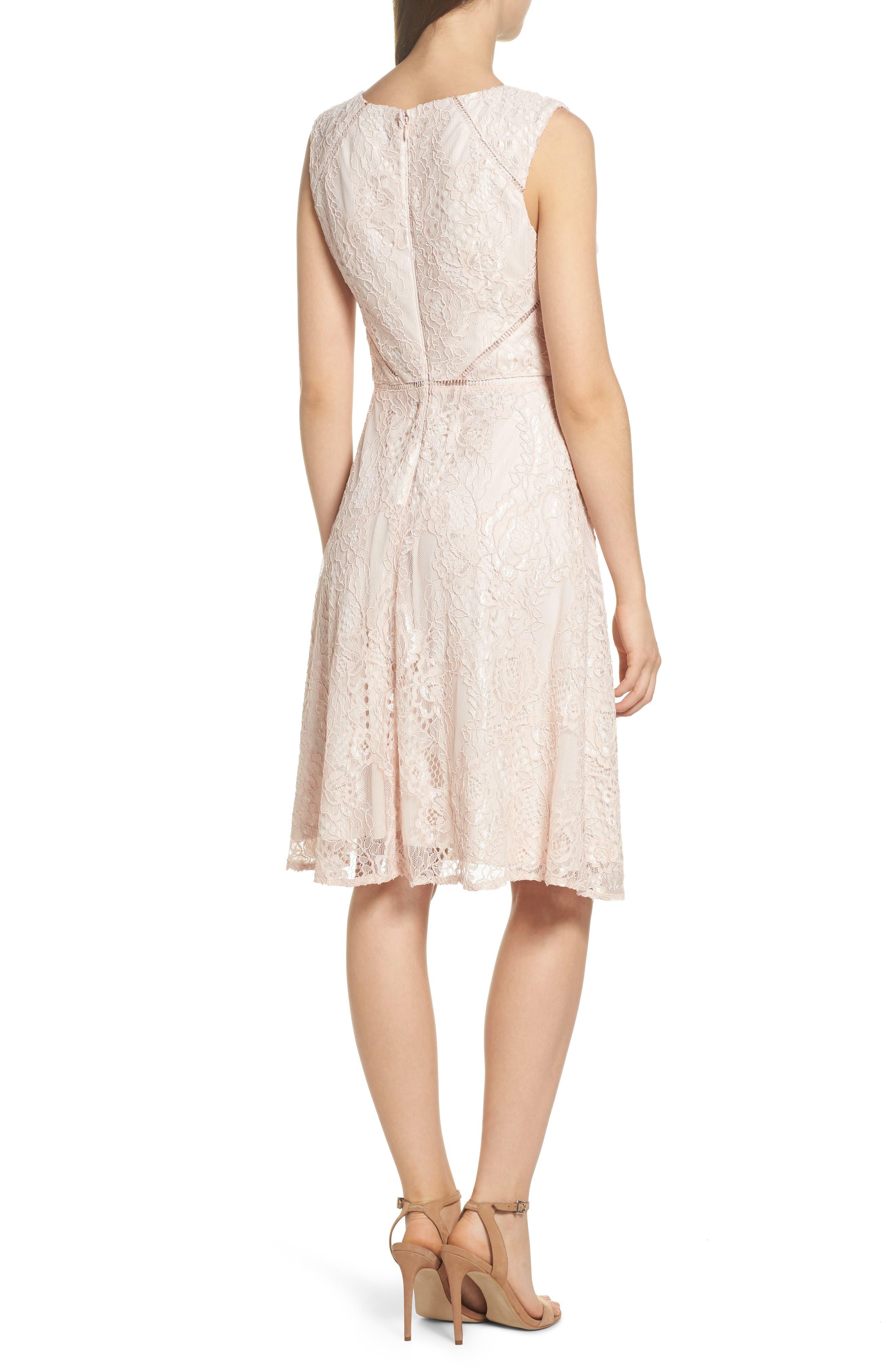 Rose Lace Fit & Flare Dress,                             Alternate thumbnail 2, color,                             Blush/ Almond