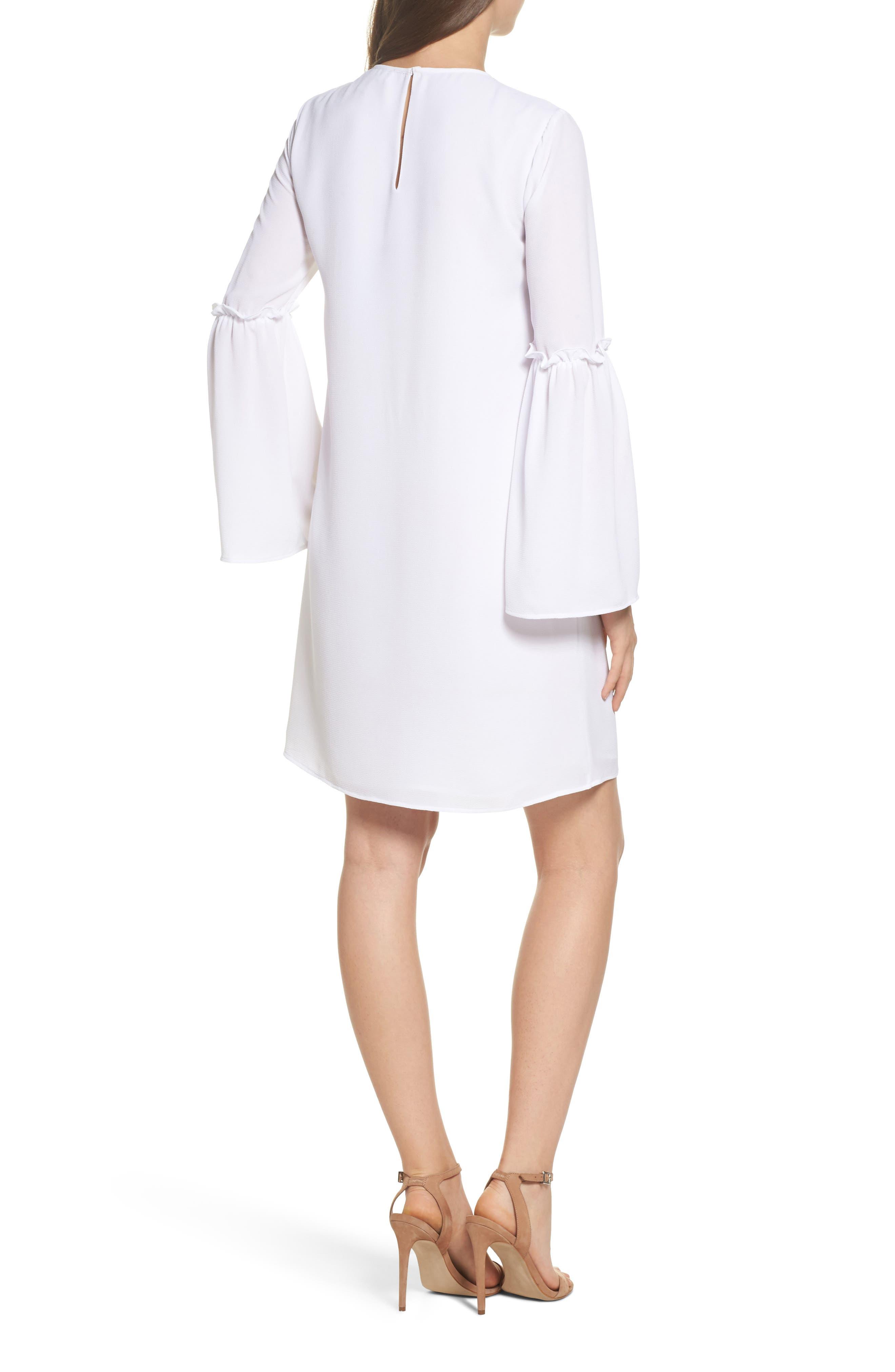 Lace Appliqué Bell Sleeve Dress,                             Alternate thumbnail 2, color,                             White