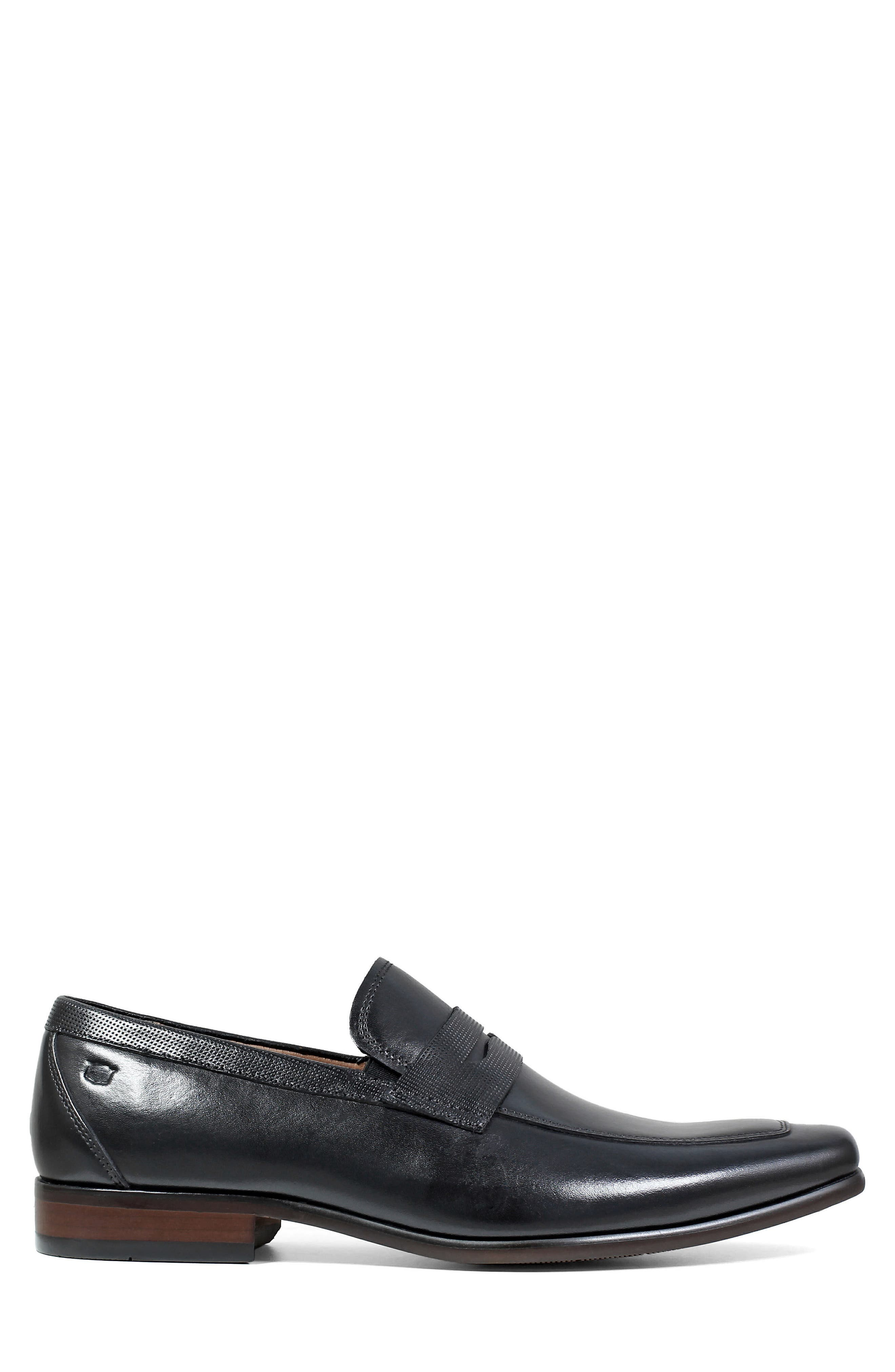 Postino Apron Toe Textured Penny Loafer,                             Alternate thumbnail 3, color,                             Black Leather