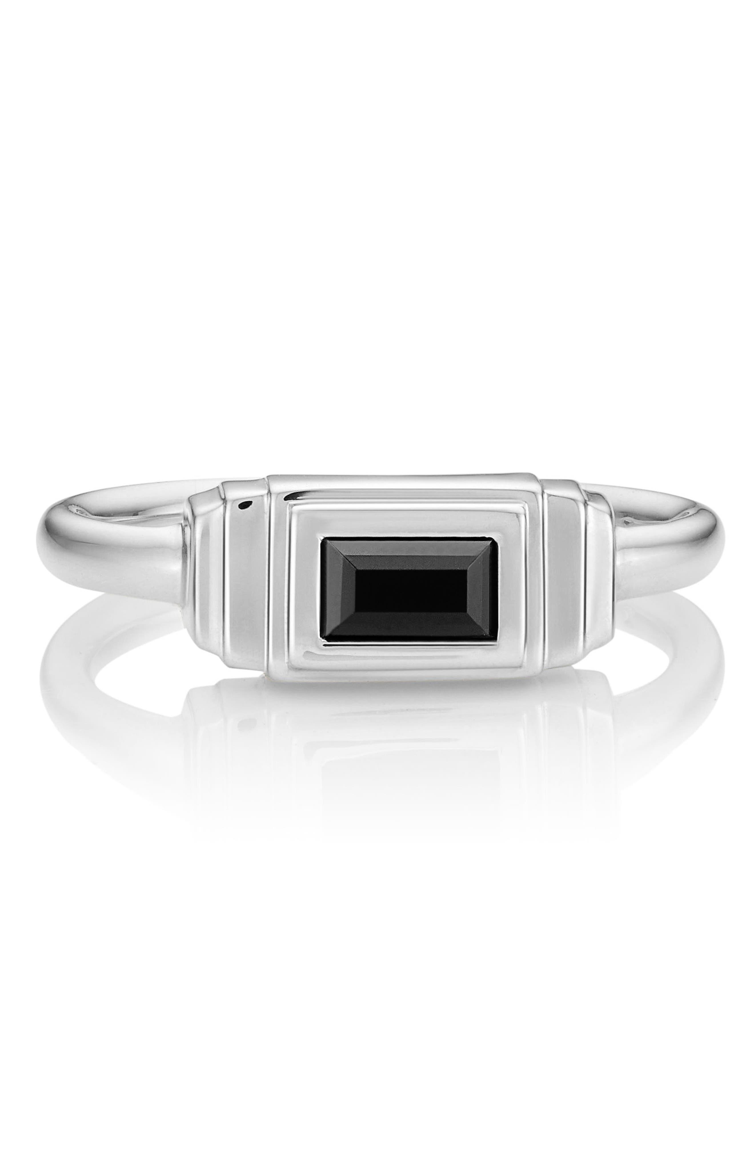 Baja Deco Semiprecious Stone Ring,                             Alternate thumbnail 3, color,                             Black Onyx/ Silver