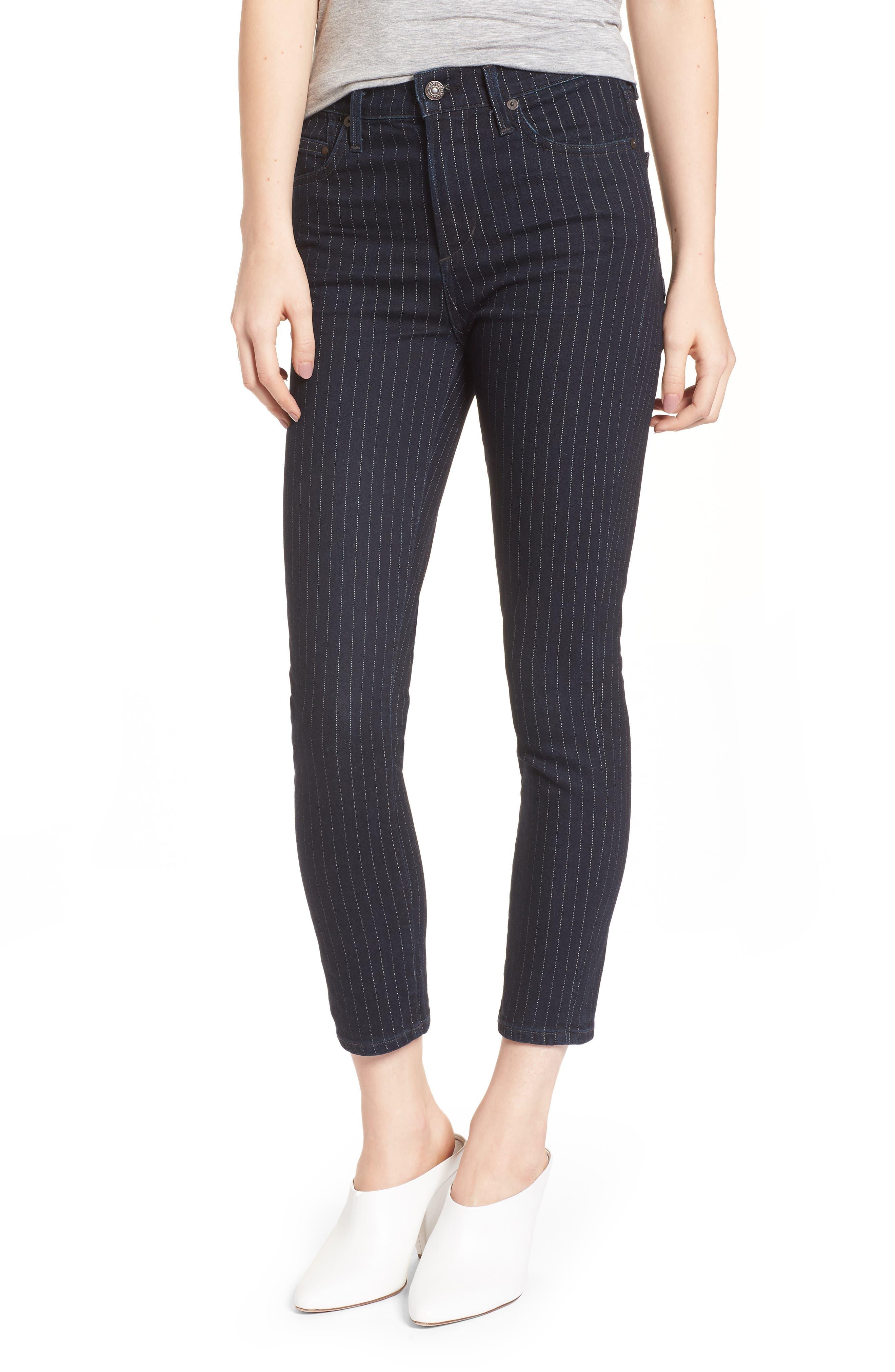 Rocket High Waist Crop Skinny Jeans,                         Main,                         color, Pinstripe