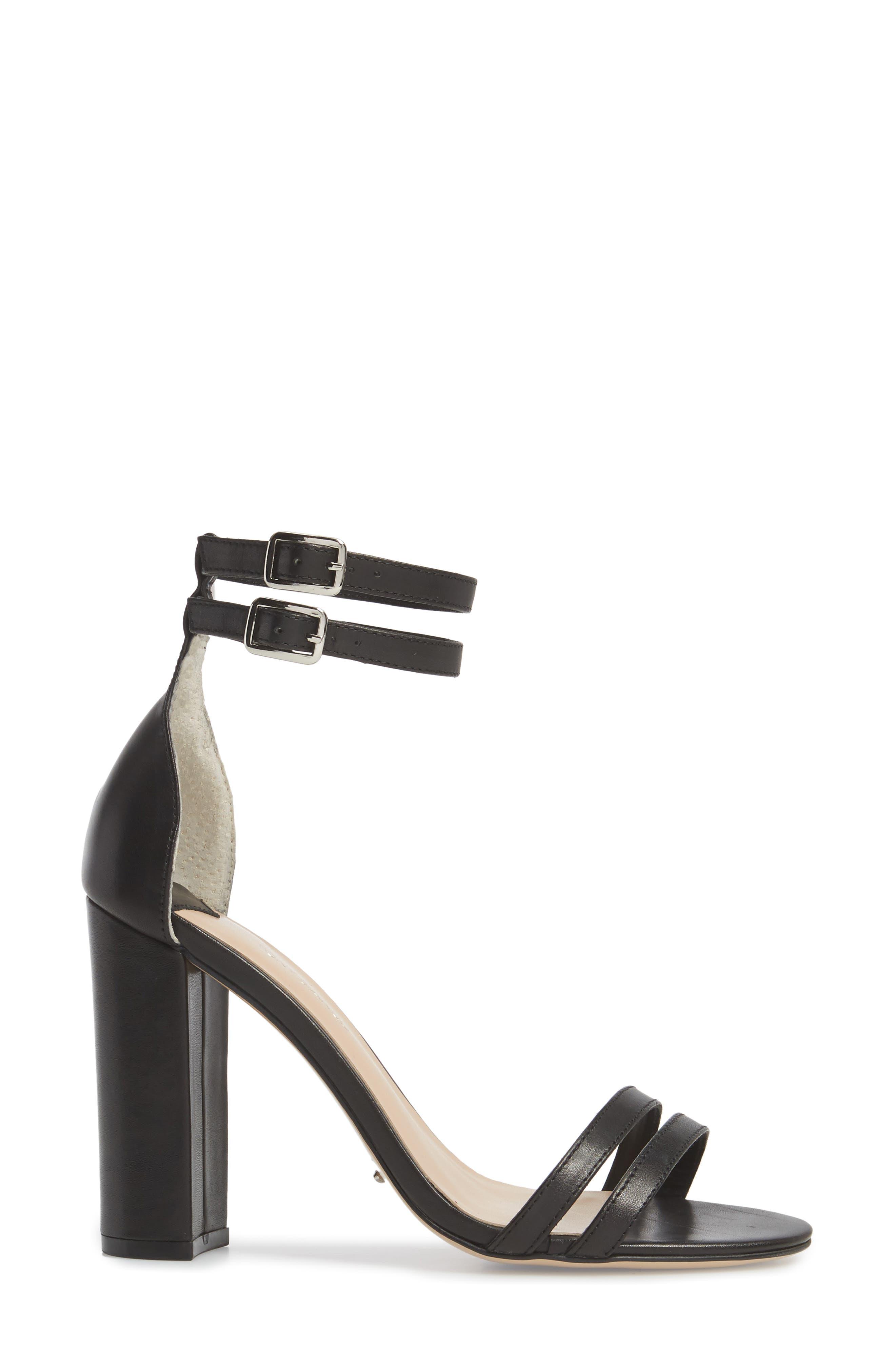 Kelly Block Heel Sandal,                             Alternate thumbnail 3, color,                             Black Monaco Leather