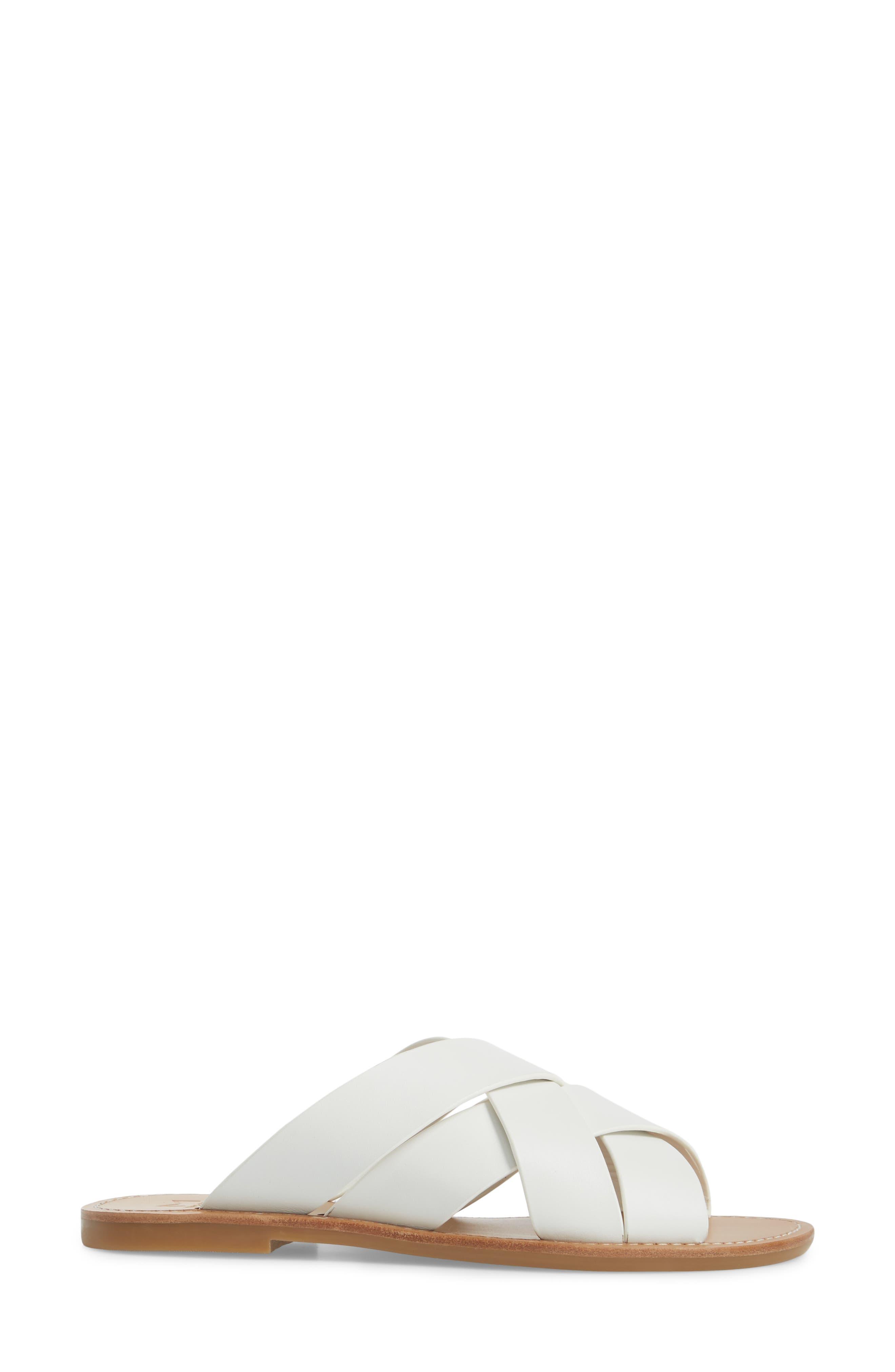 Raida Slide Sandal,                             Alternate thumbnail 3, color,                             White Leather