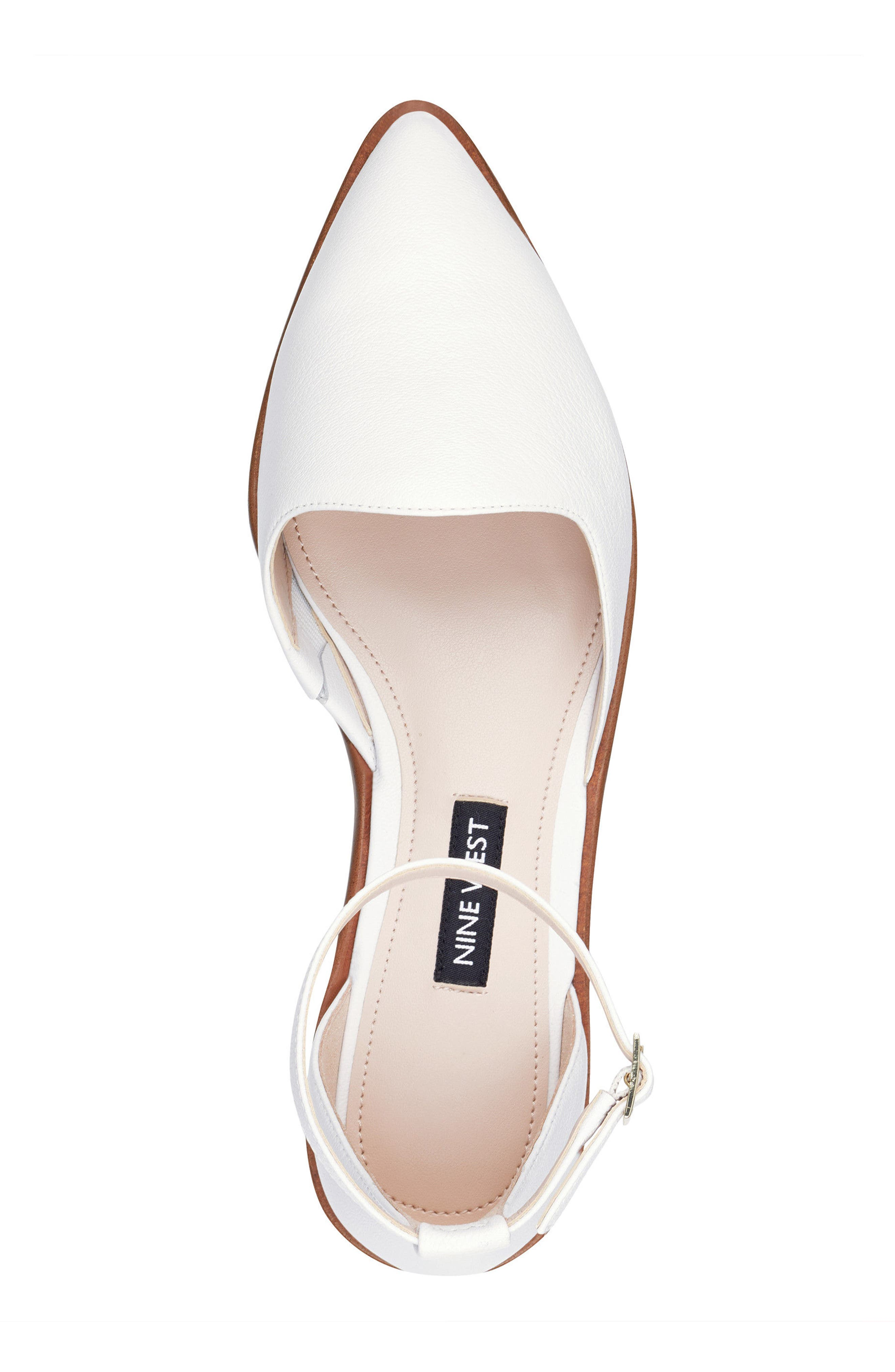 Oriona Ankle Strap Flat,                             Alternate thumbnail 5, color,                             White Leather