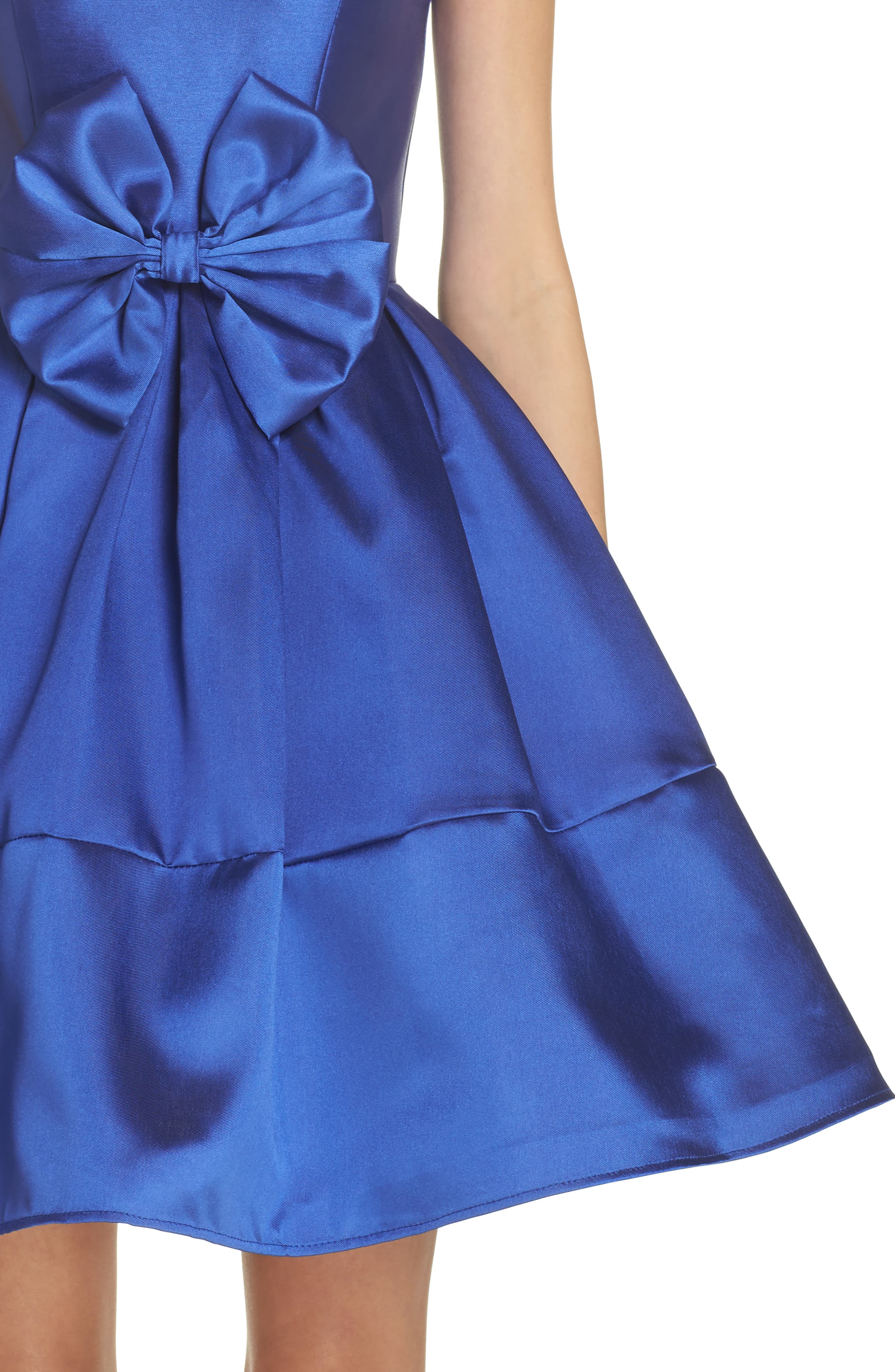 Square Neck Mikado Party Dress,                             Alternate thumbnail 4, color,                             Royal