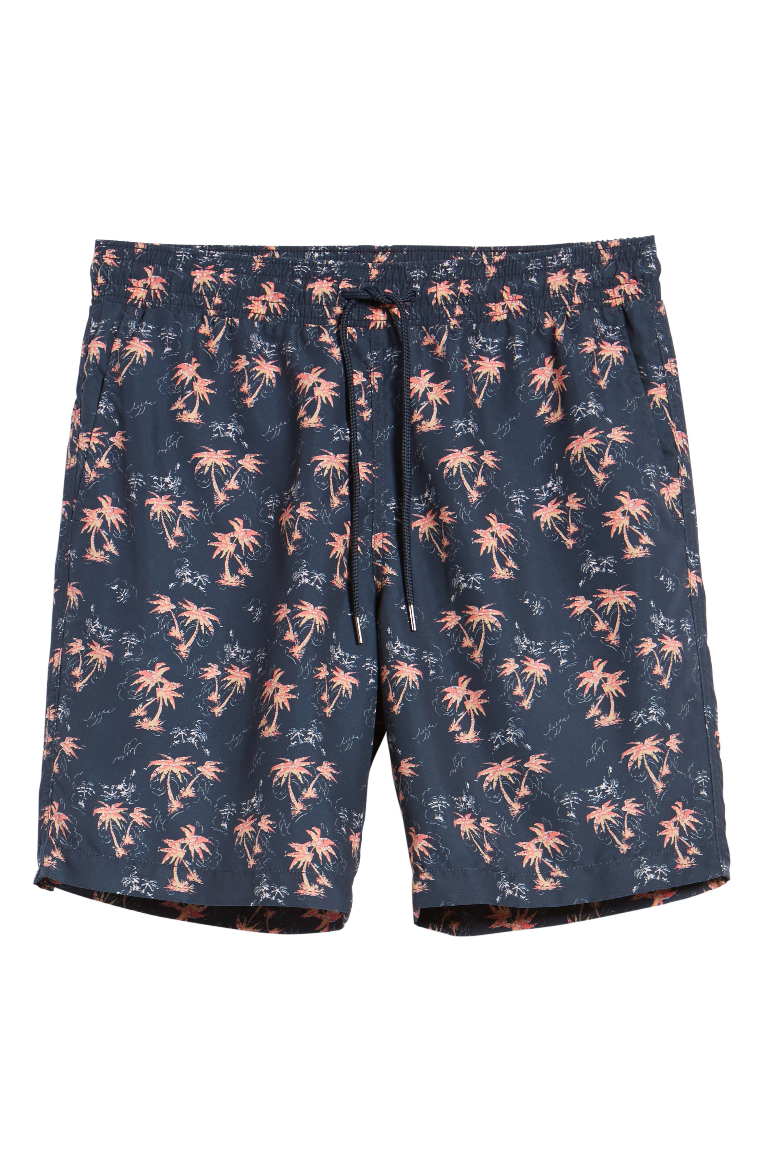 Burning Palm Swim Trunks,                             Alternate thumbnail 6, color,                             Carbon Spice Coral