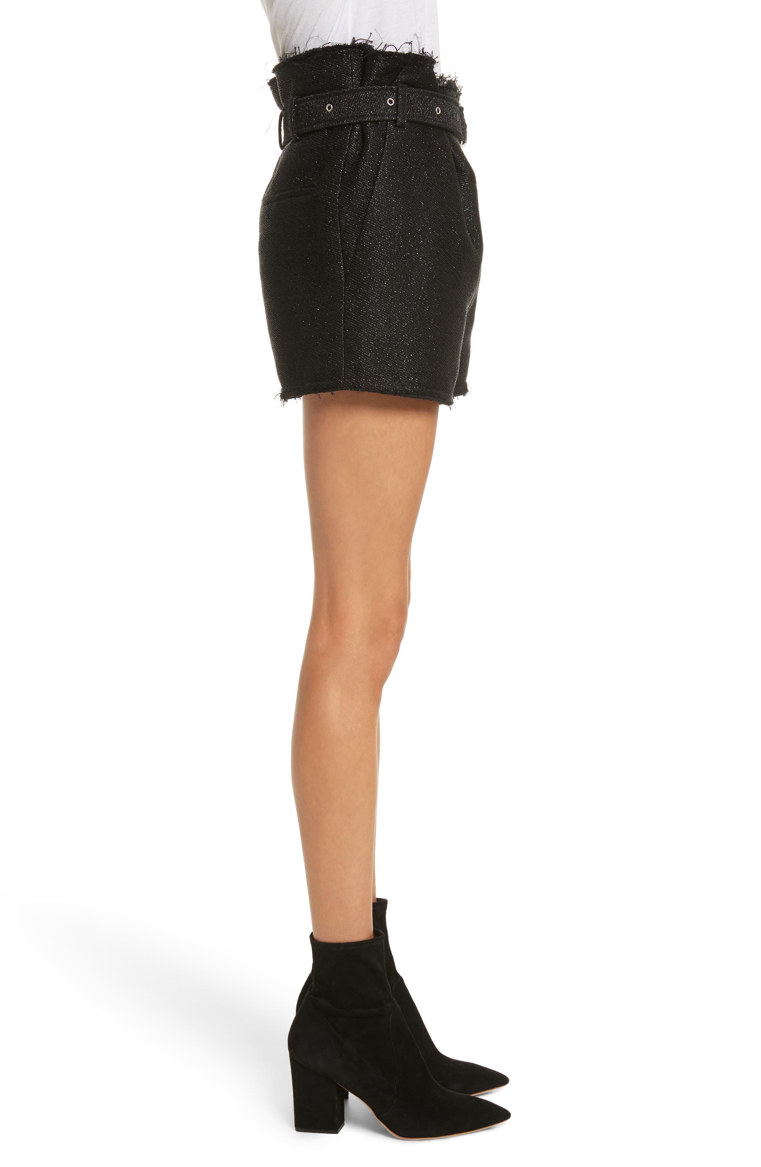 Chopan Belted Paper Bag Shorts,                             Alternate thumbnail 3, color,                             Black