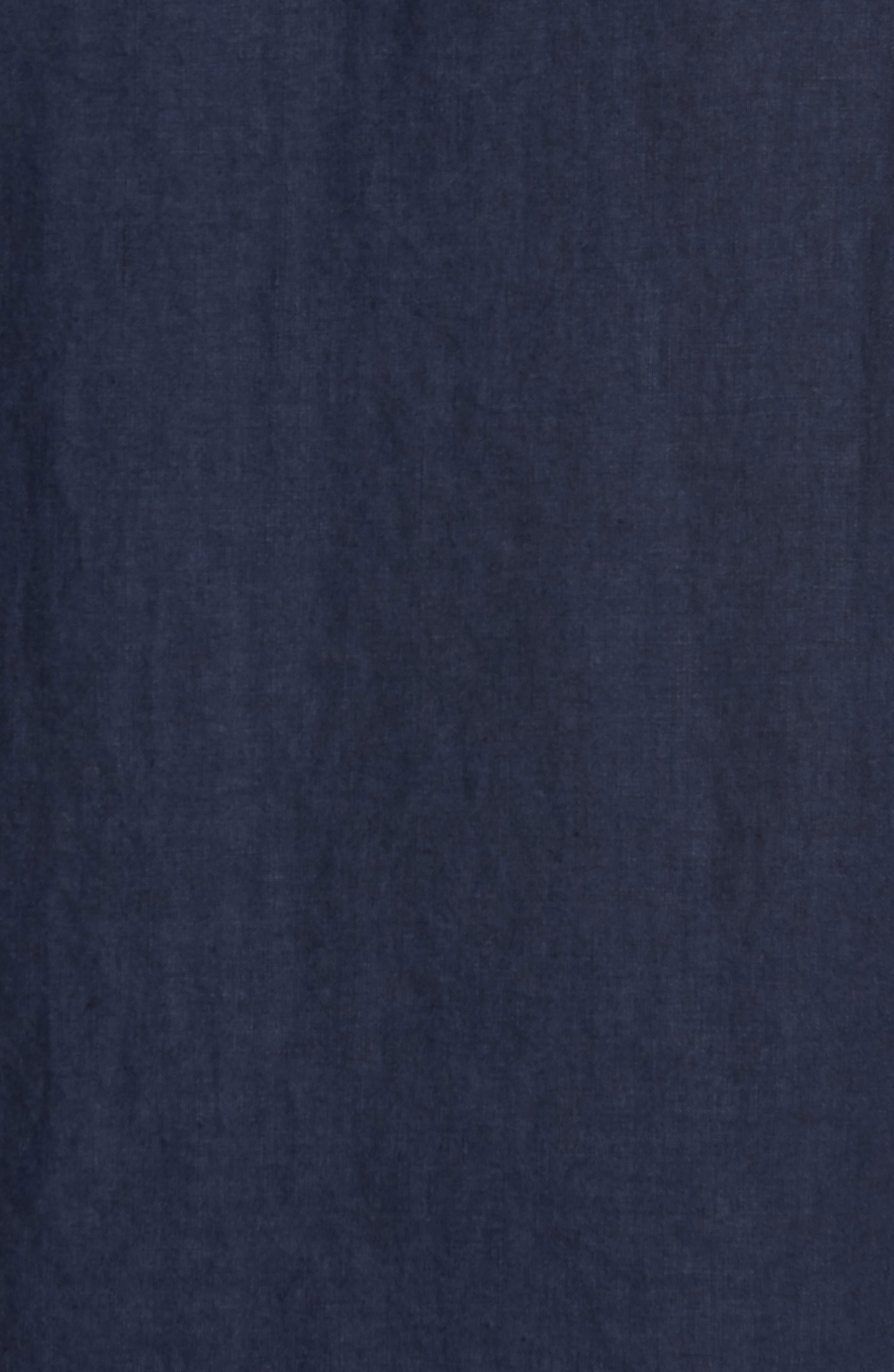 & Bros. Regular Fit Band Collar Linen Shirt,                             Alternate thumbnail 5, color,                             Mood Indigo