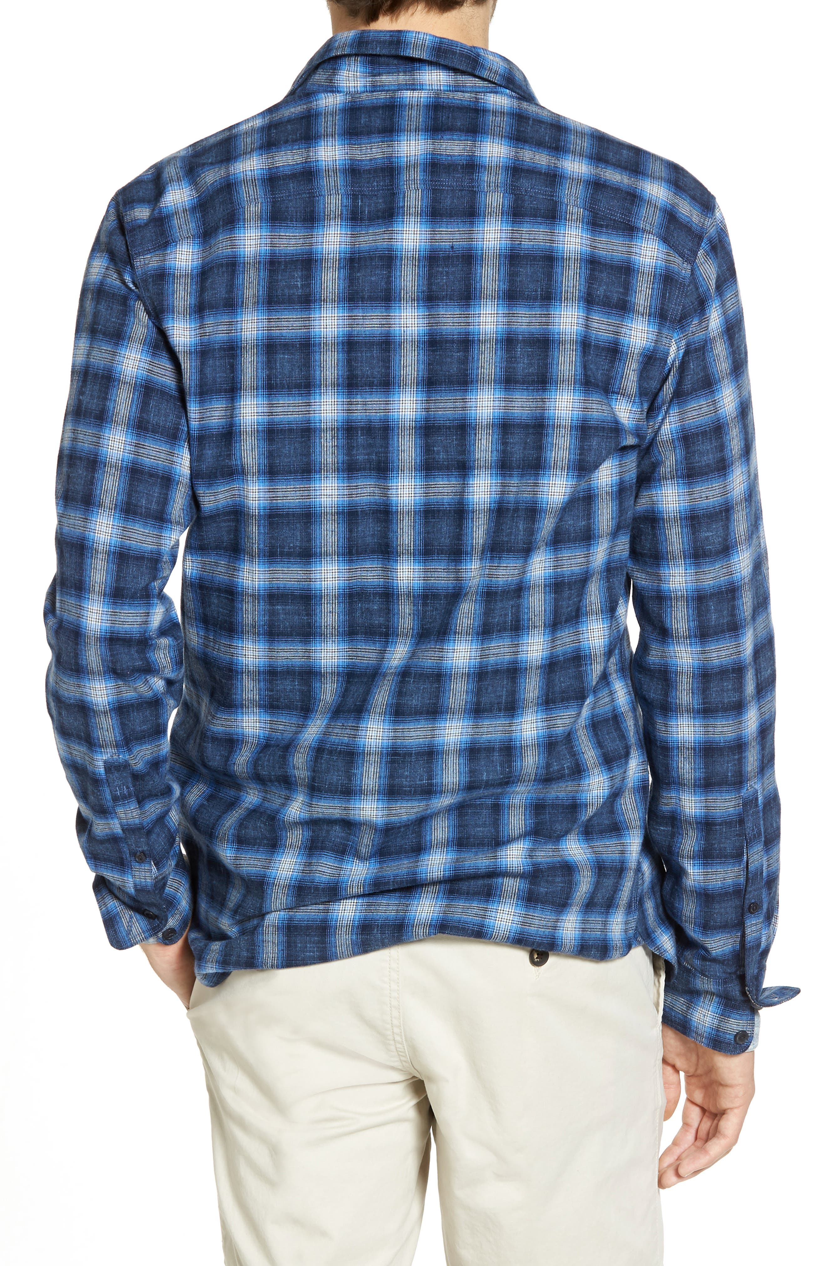 Trim Fit Plaid Sport Shirt,                             Alternate thumbnail 3, color,                             Black Blue Homespun Plaid