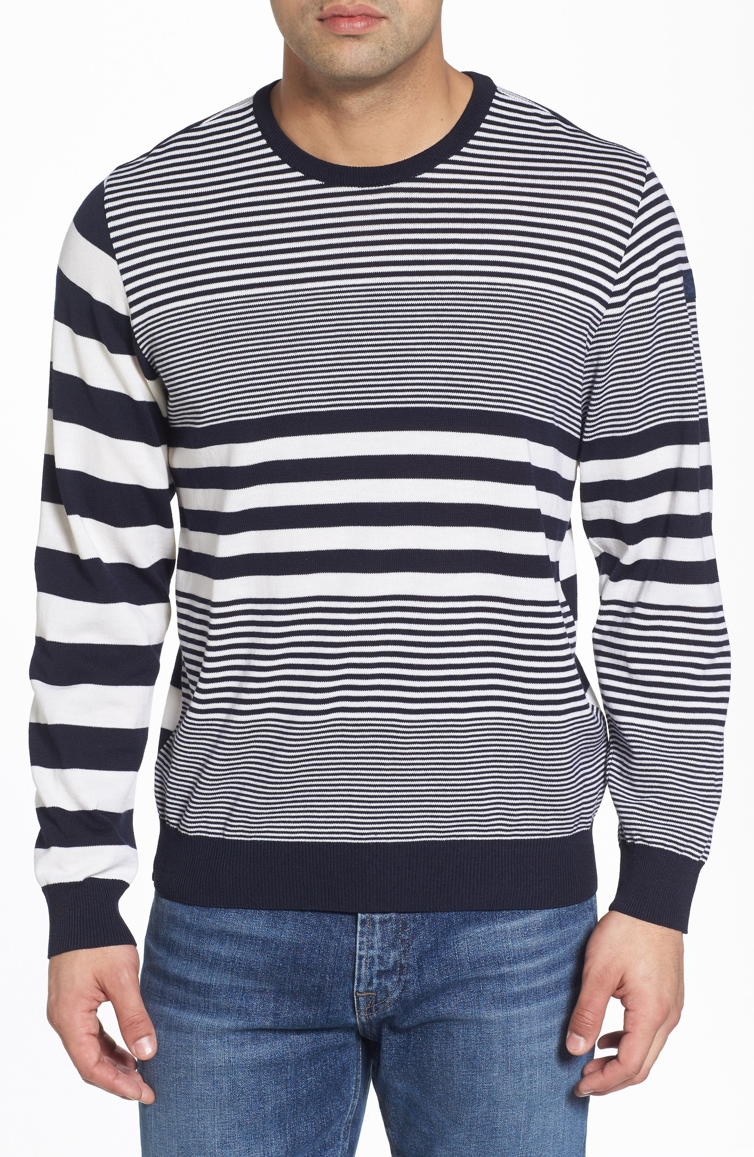 Paul&Shark Stripe Wool Sweater,                         Main,                         color, Navy/ White