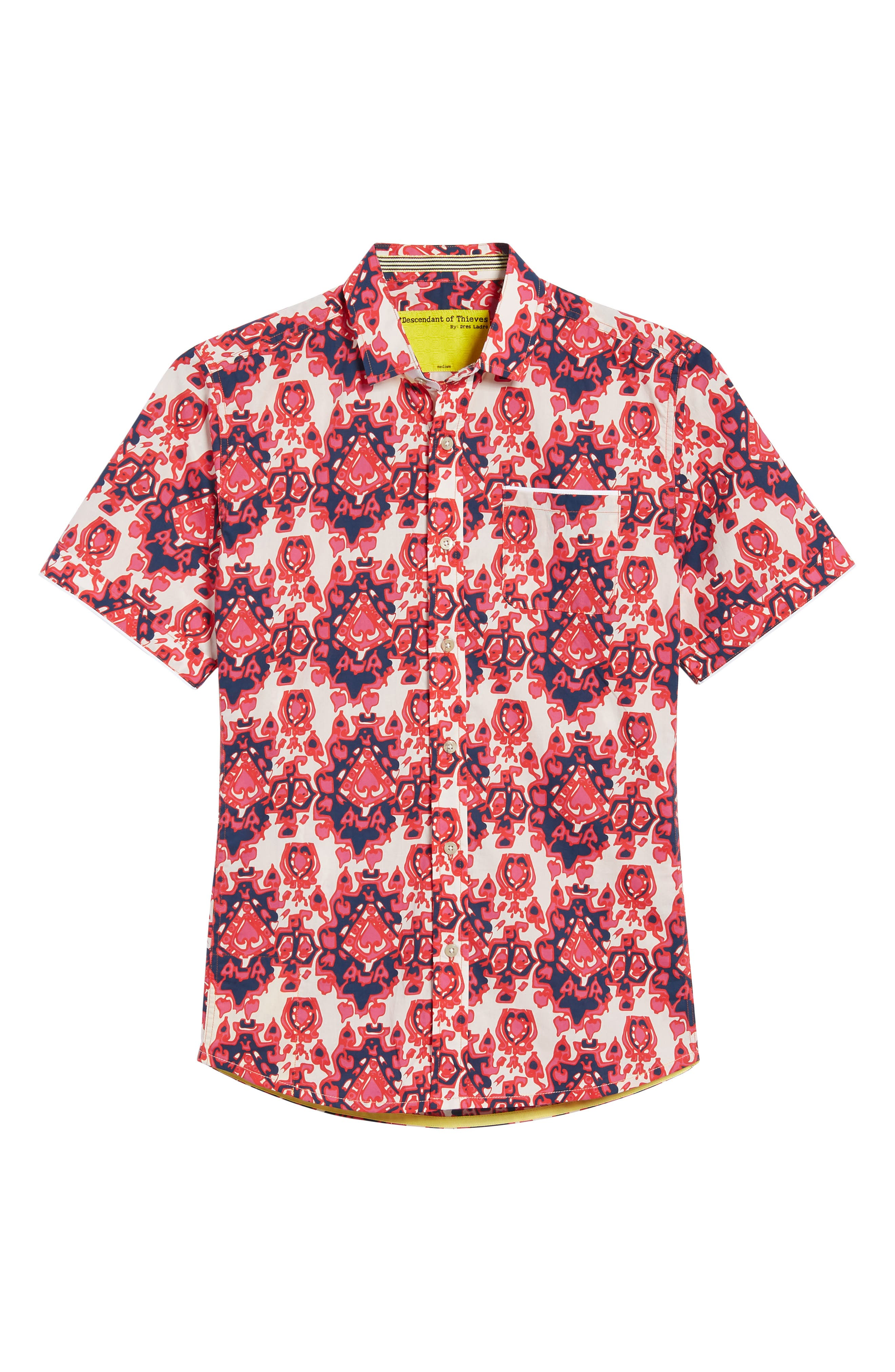Abstract Culture Woven Shirt,                             Alternate thumbnail 6, color,                             Punch Red