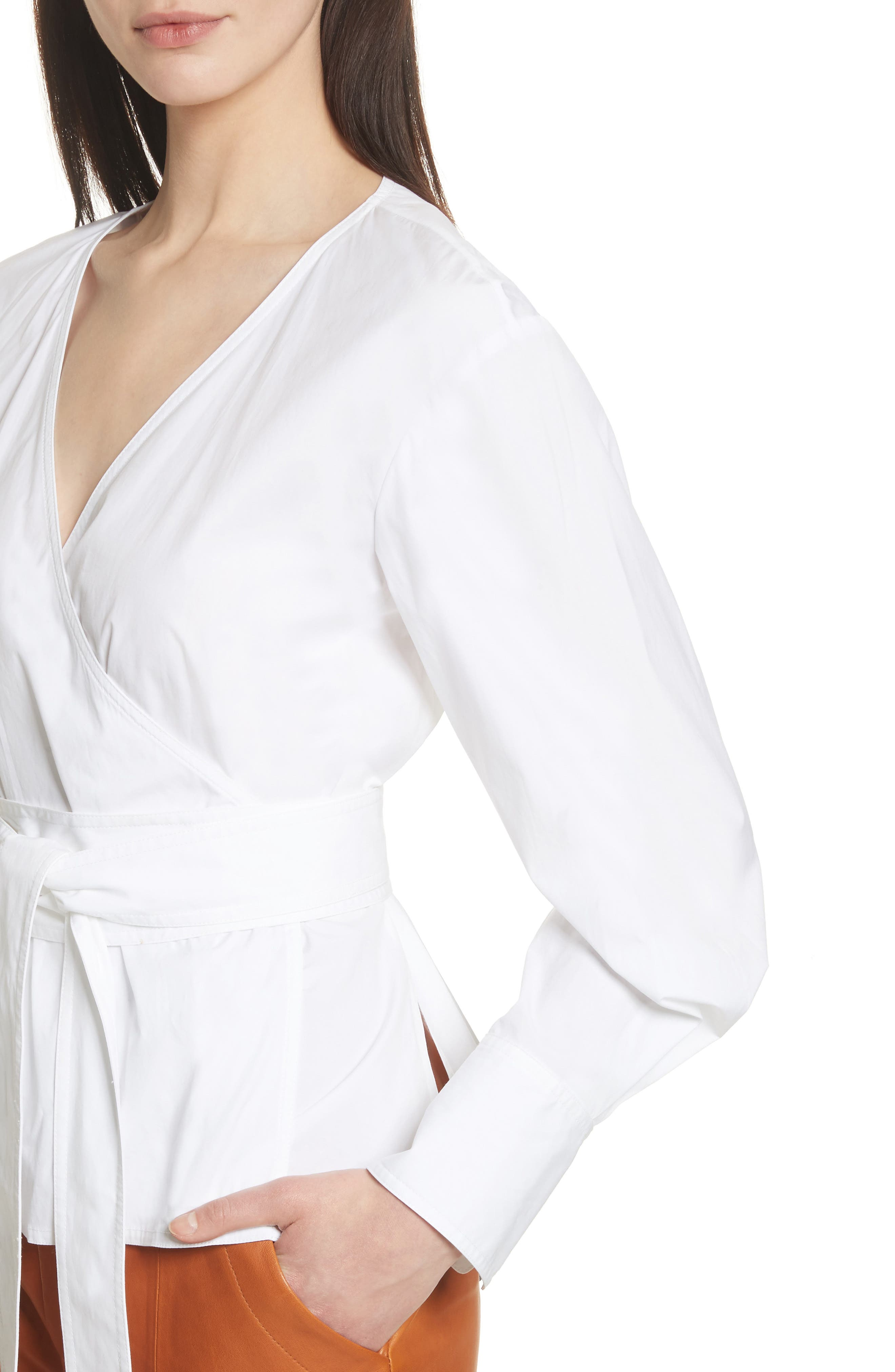 Alternate Image 4  - GREY Jason Wu Puff Sleeve Poplin Wrap Blouse