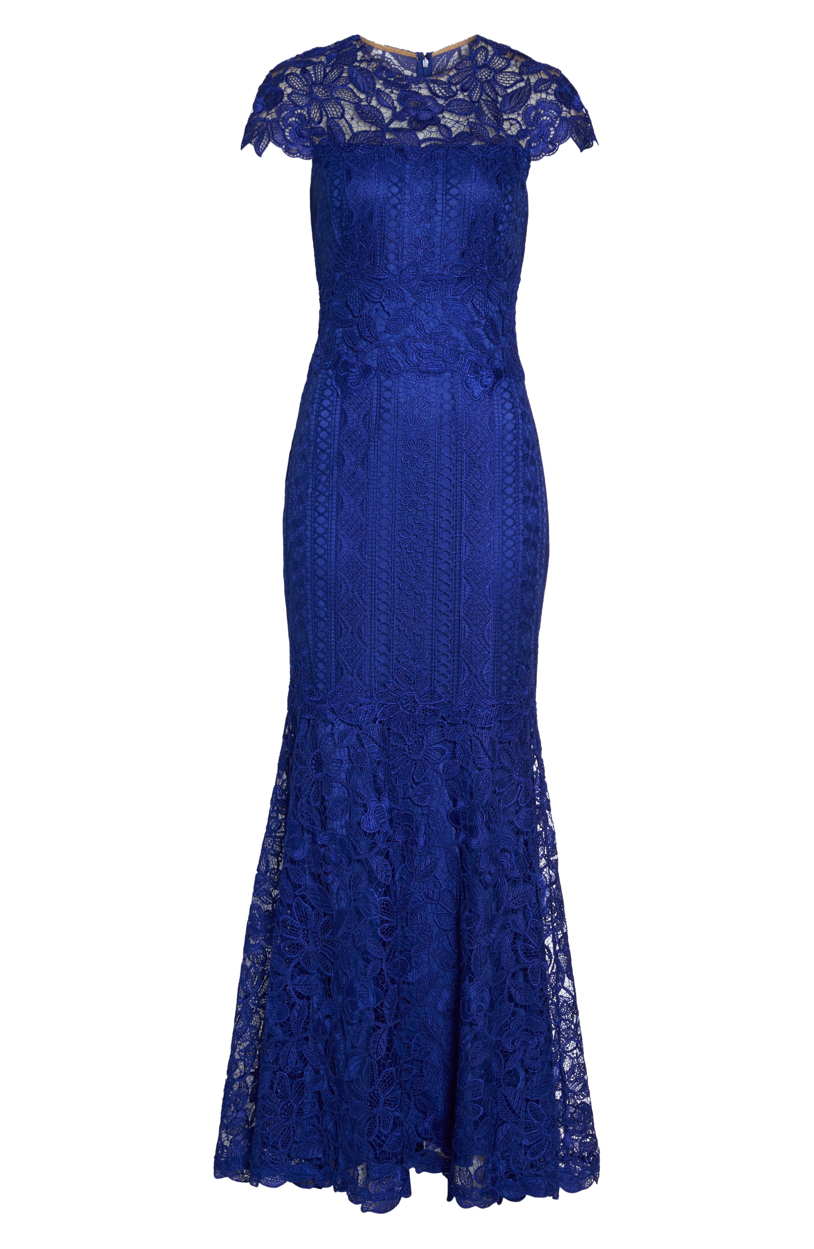 Lace Mermaid Gown,                             Alternate thumbnail 6, color,                             Indigo