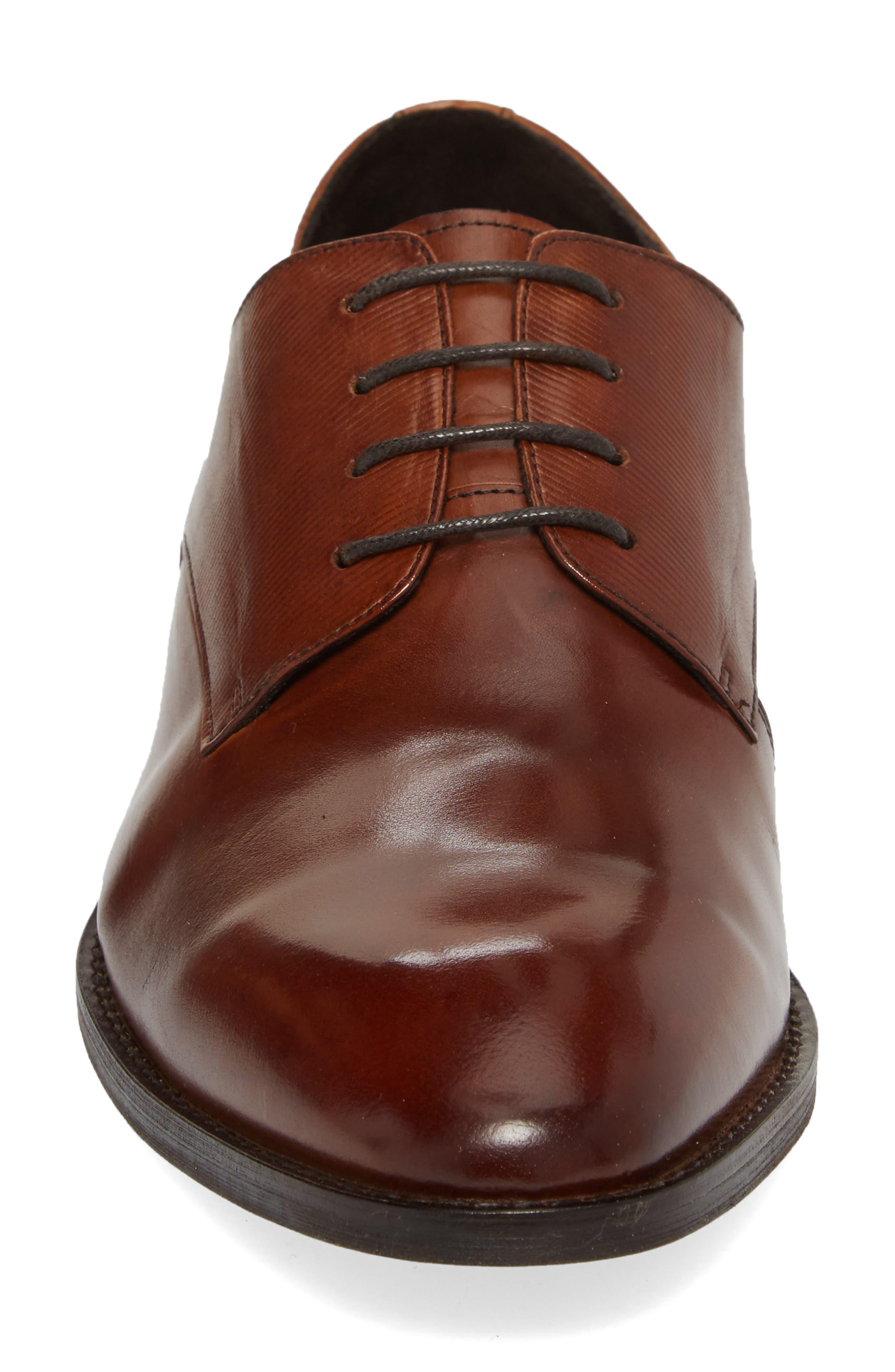 Courage Plain Toe Derby,                             Alternate thumbnail 4, color,                             Cognac Leather