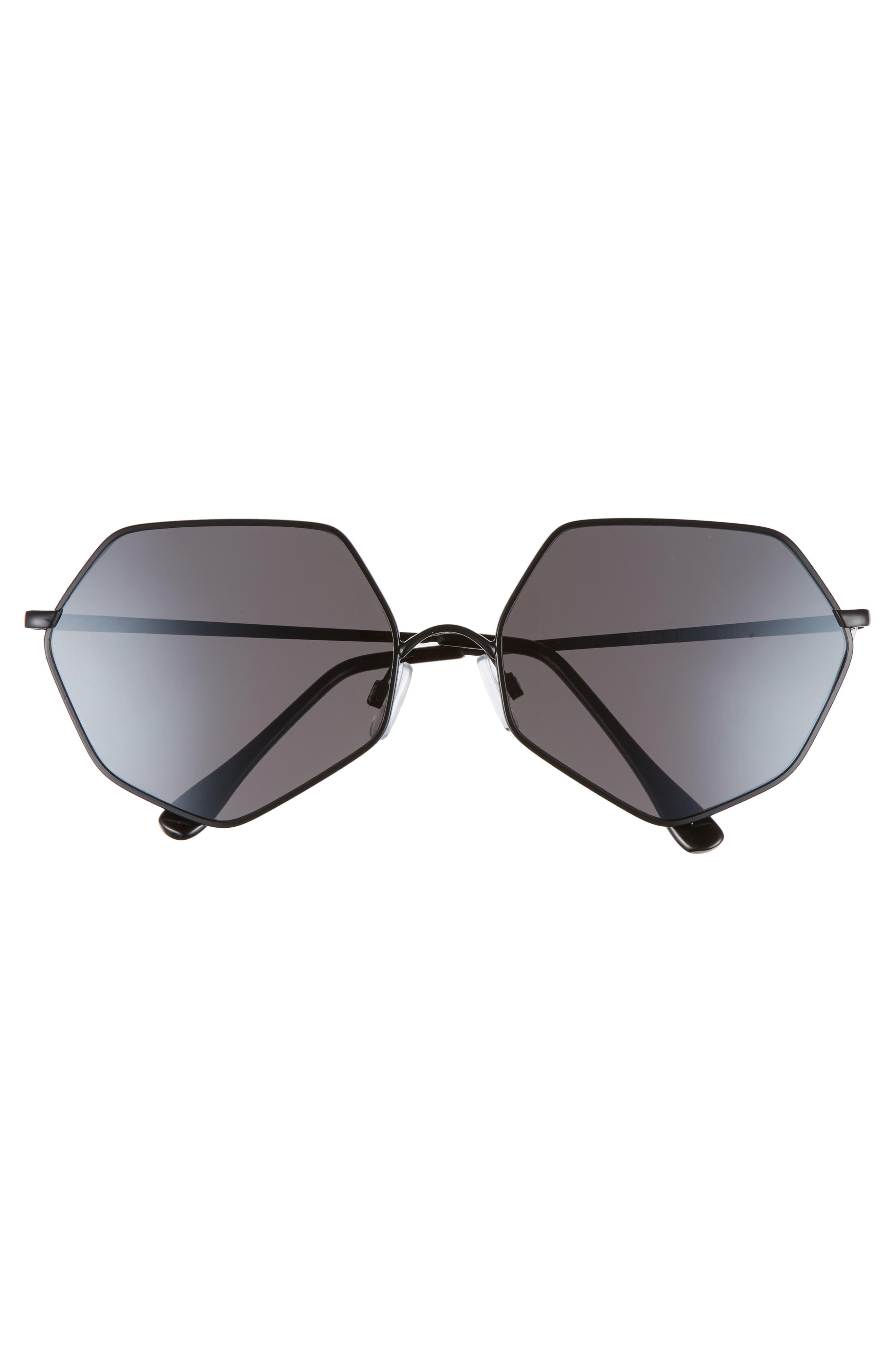 60 mm Geometric Metal Aviator Sunglasses,                             Alternate thumbnail 3, color,                             Black/ Black