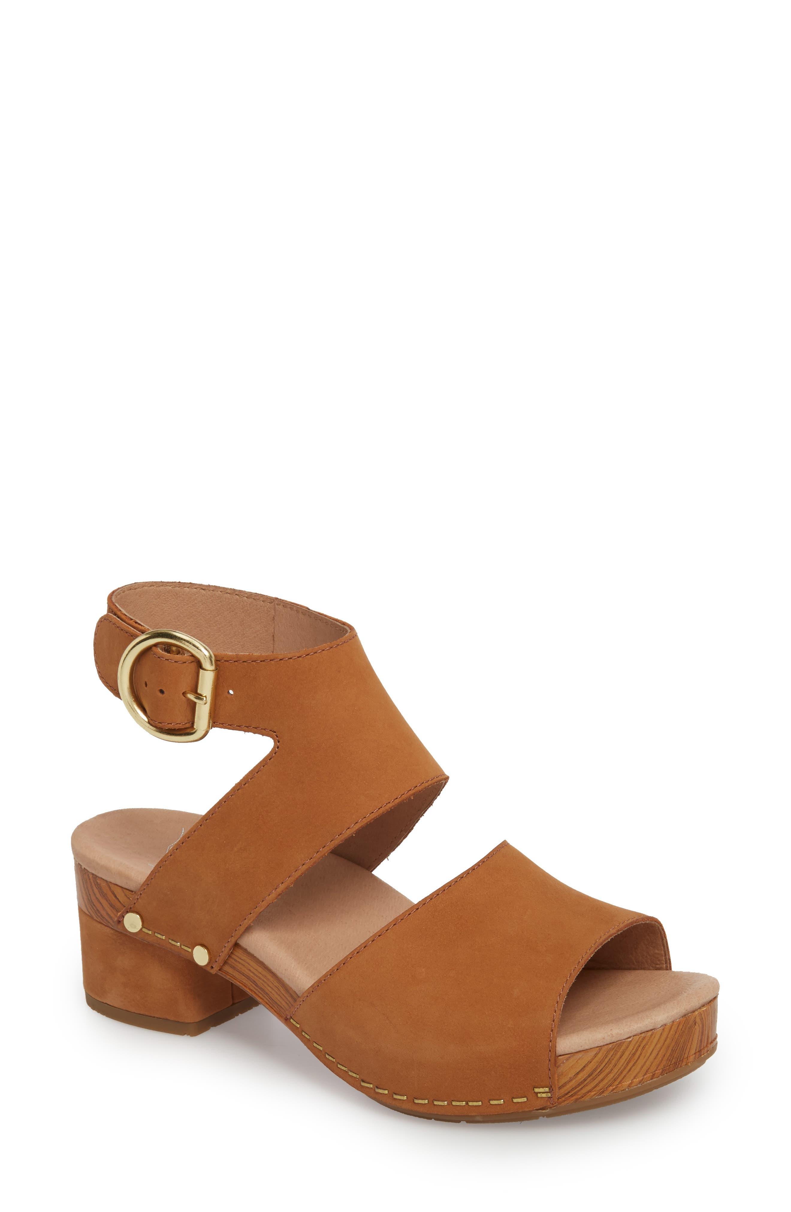 Minka Sandal,                         Main,                         color, Camel Milled Nubuck Leather