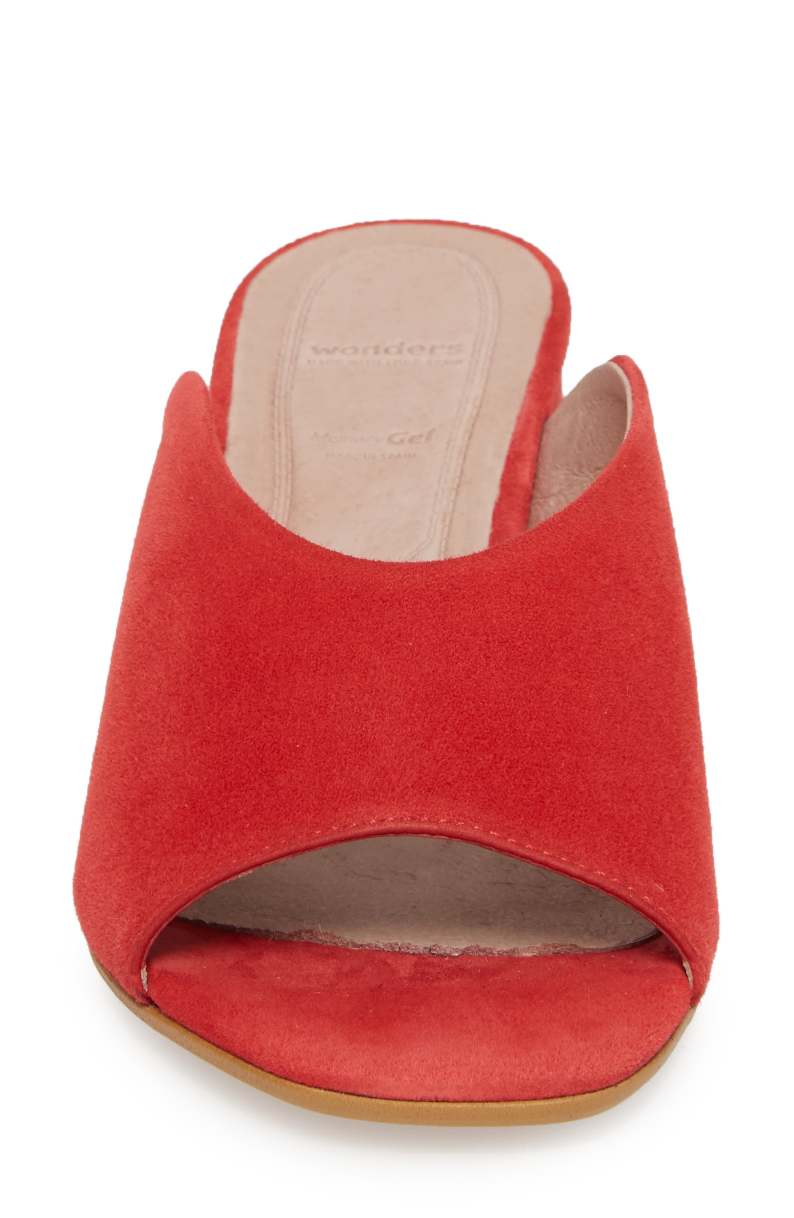 F-6127 Mule,                             Alternate thumbnail 4, color,                             Red Suede