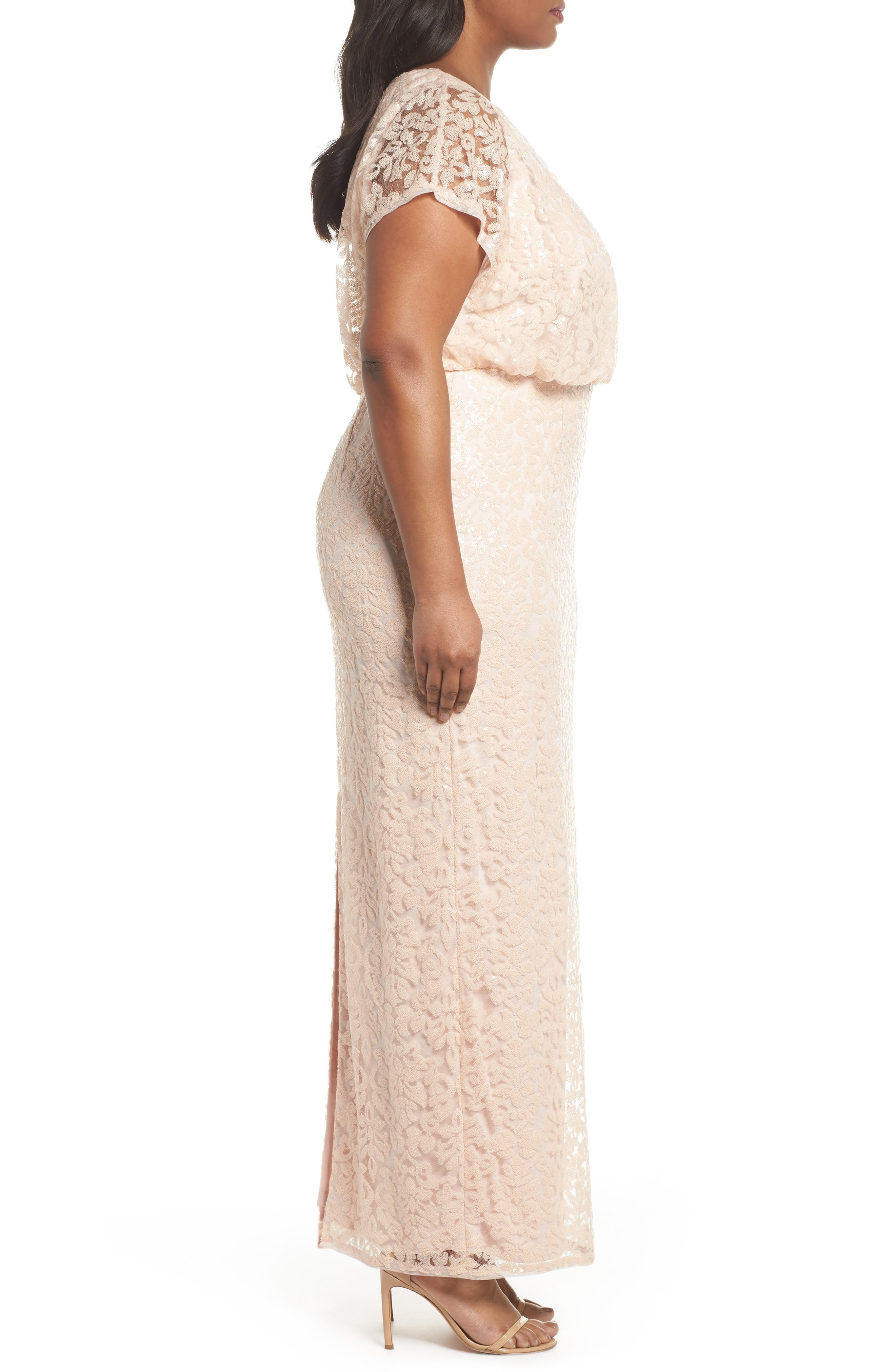 Sequin Embellished Blouson Gown,                             Alternate thumbnail 3, color,                             Blush