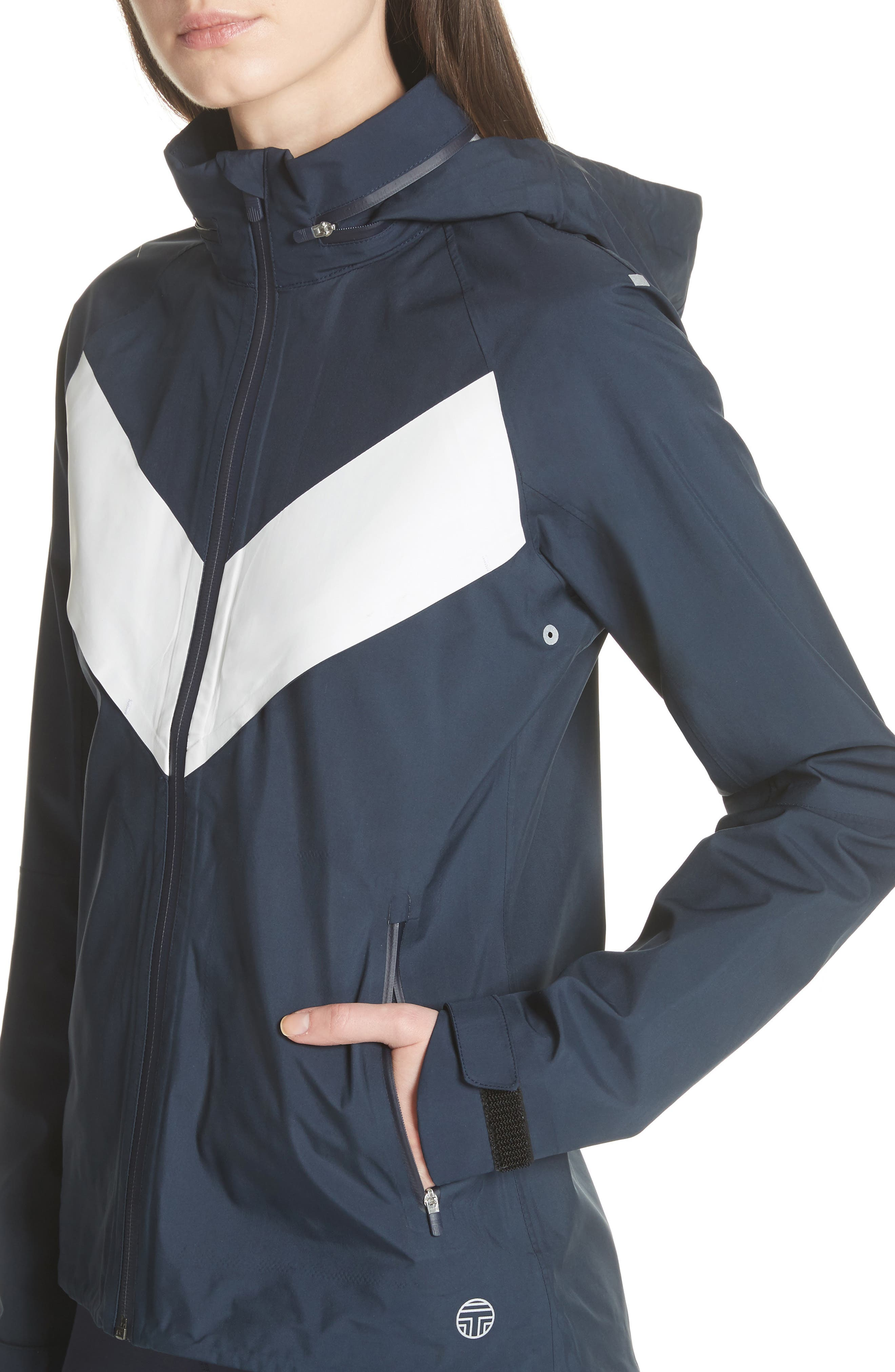 All Weather Run Jacket,                             Alternate thumbnail 5, color,                             Tory Navy/ White Snow