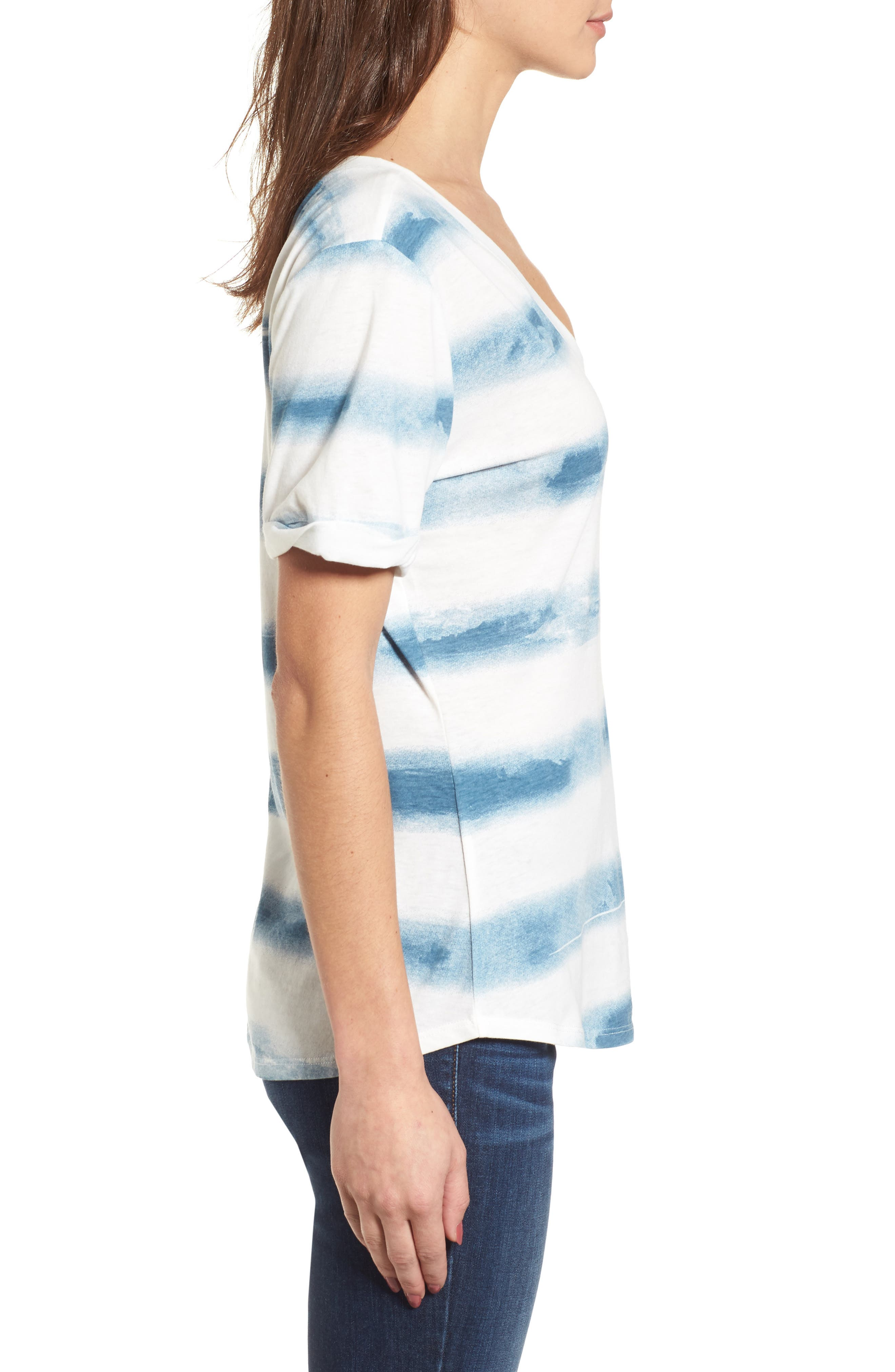 Stripe Roll Sleeve Tee,                             Alternate thumbnail 3, color,                             Off White/ Blue Burnout Stripe