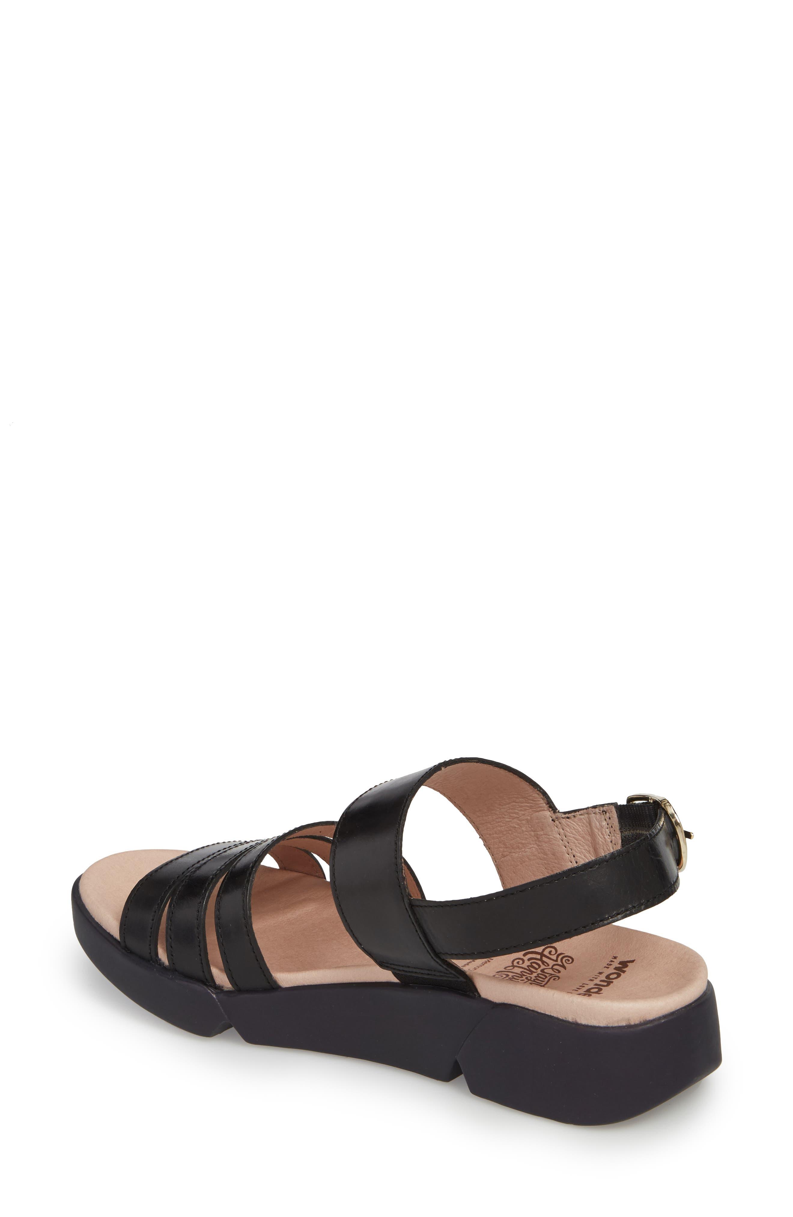 A-8004 Sandal,                             Alternate thumbnail 2, color,                             Black Leather