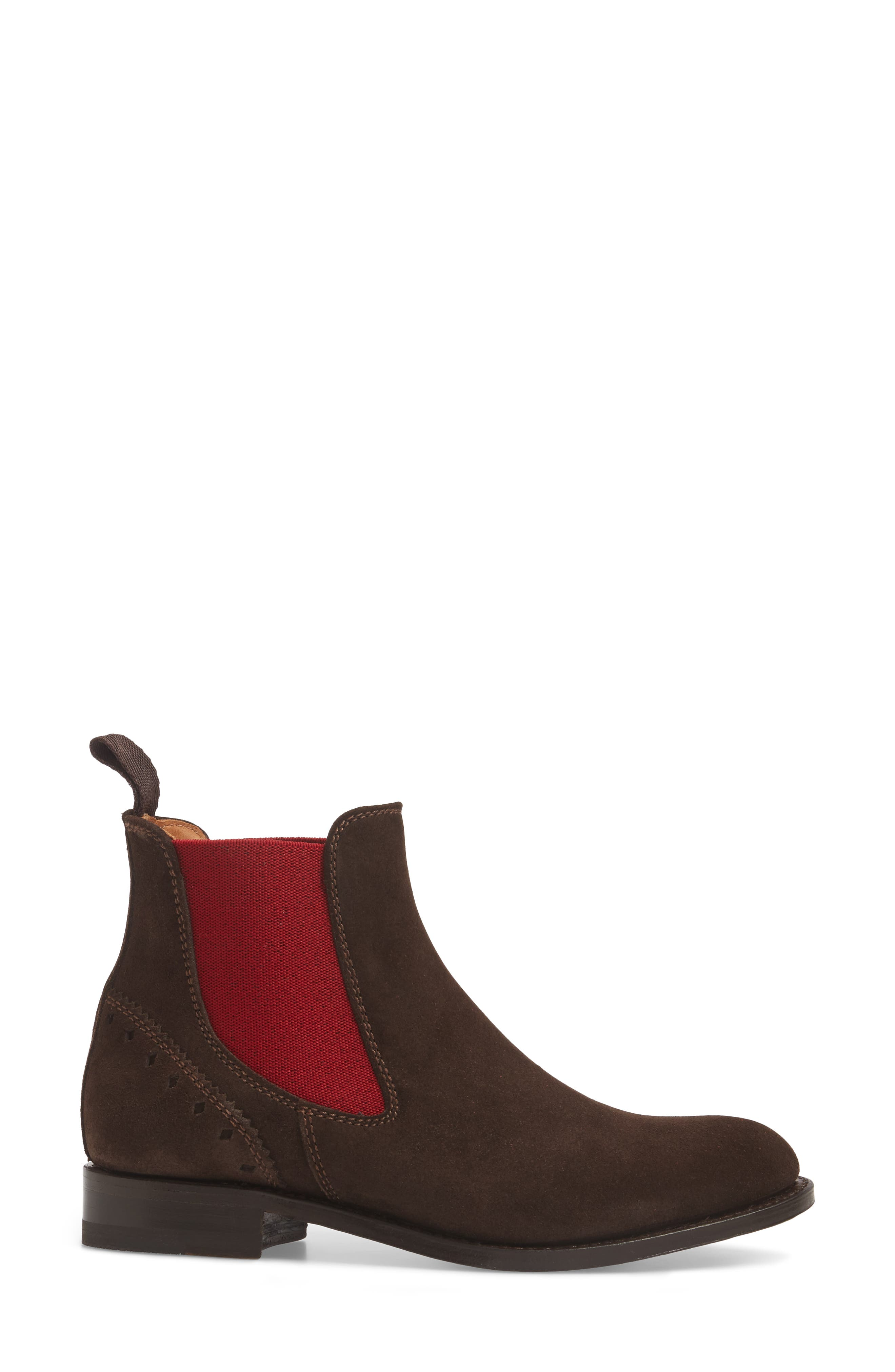Benissa Lux Chelsea Boot,                             Alternate thumbnail 3, color,                             Brown Suede