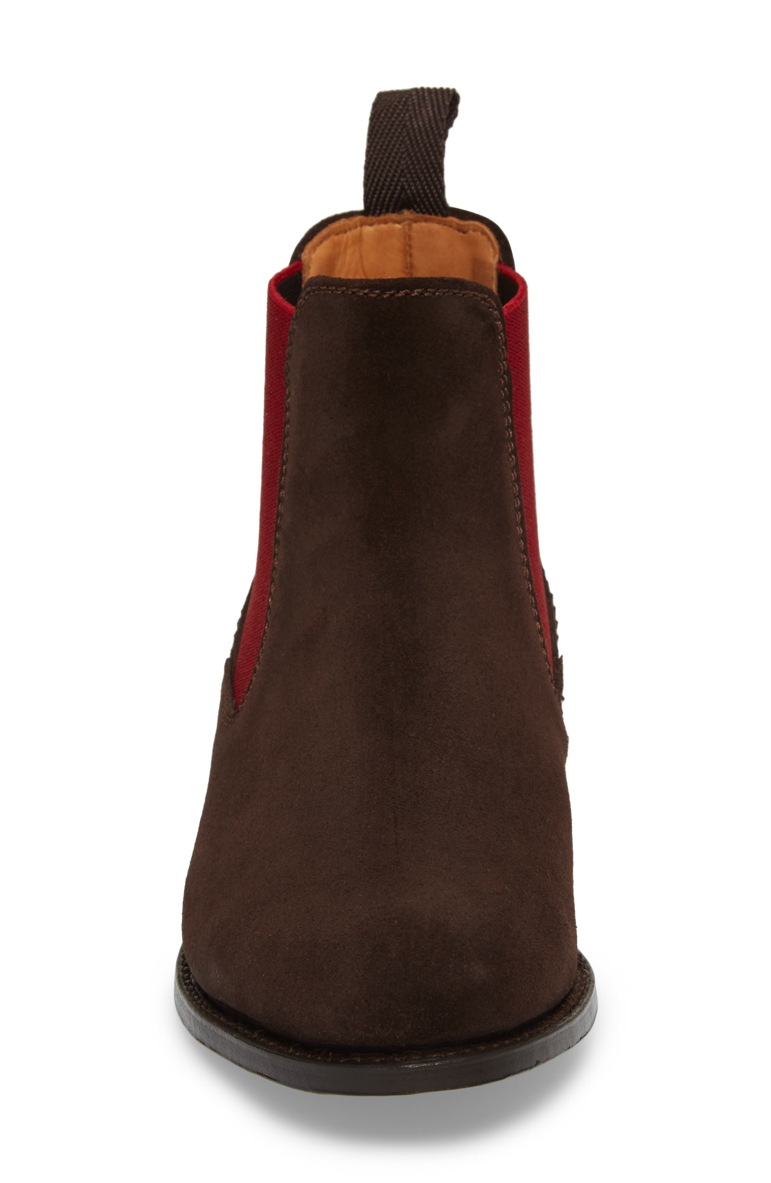 Benissa Lux Chelsea Boot,                             Alternate thumbnail 4, color,                             Brown Suede