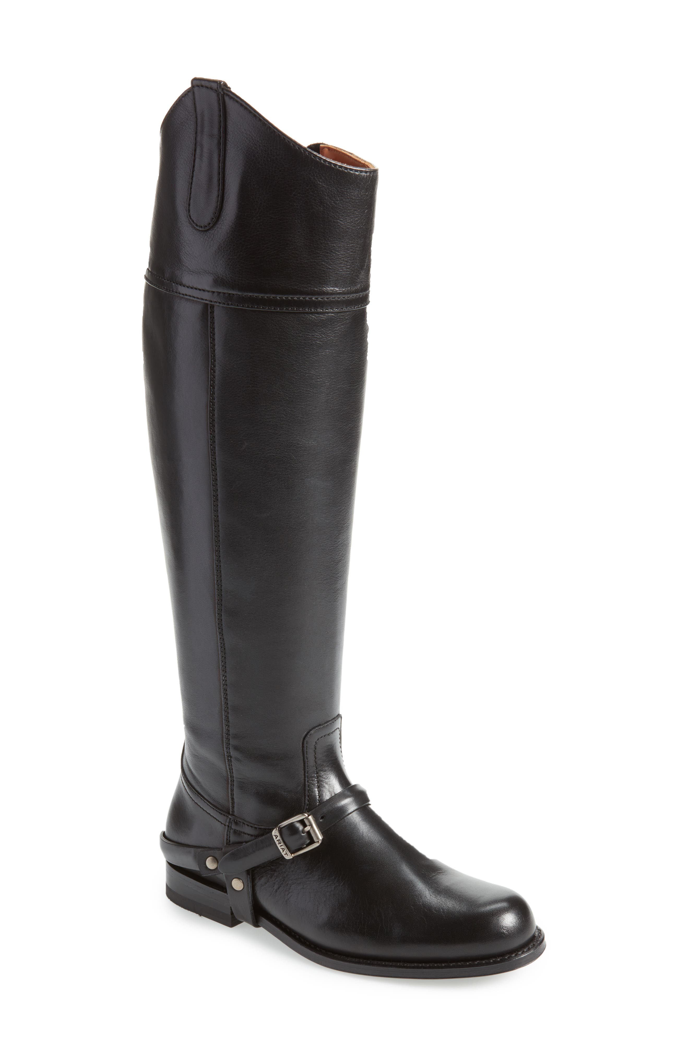 Pamplona Knee High Boot,                             Main thumbnail 1, color,                             Black Leather