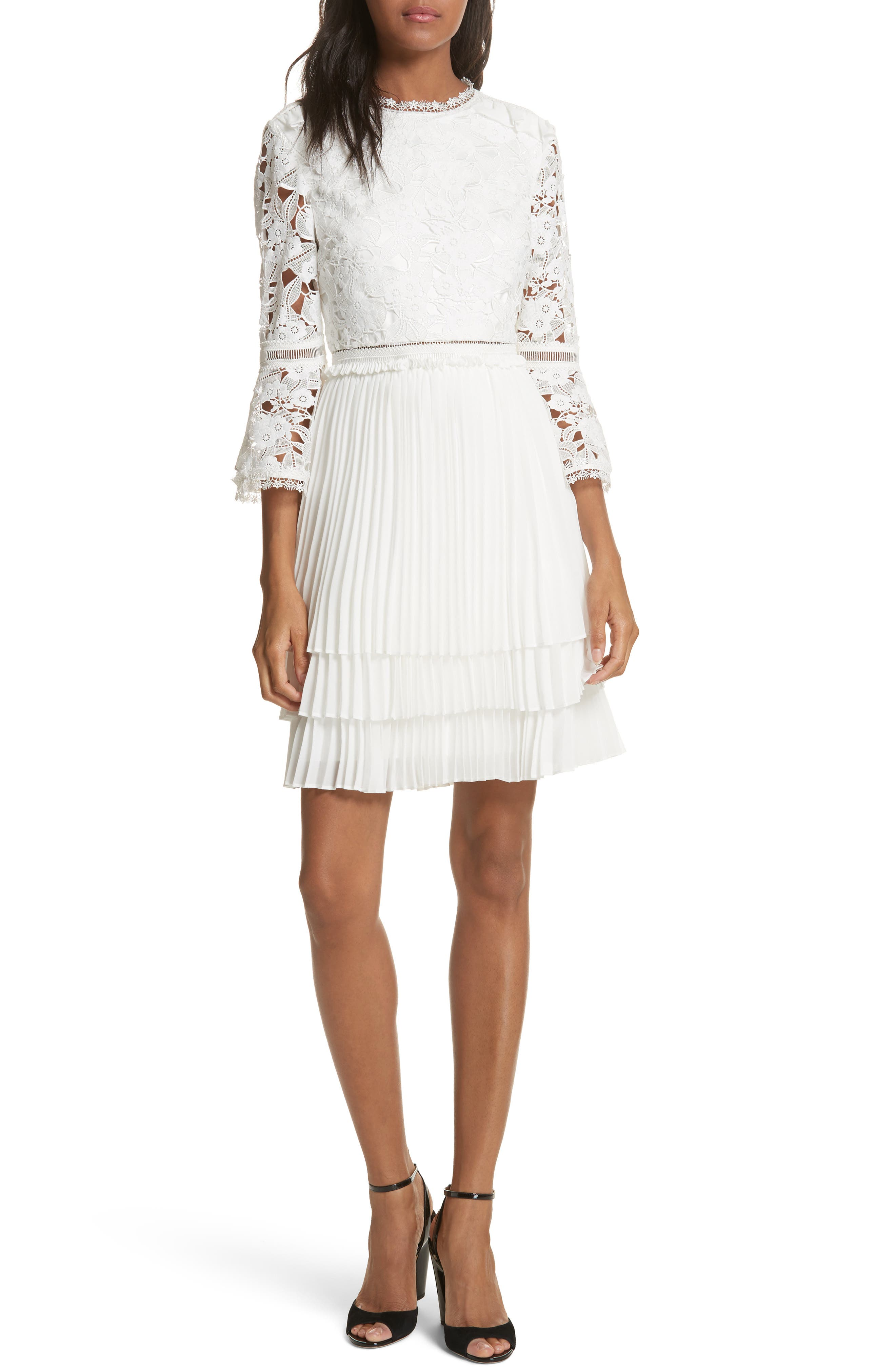 Ted Baker London Stefoni Lace Bodice Pleated Dress