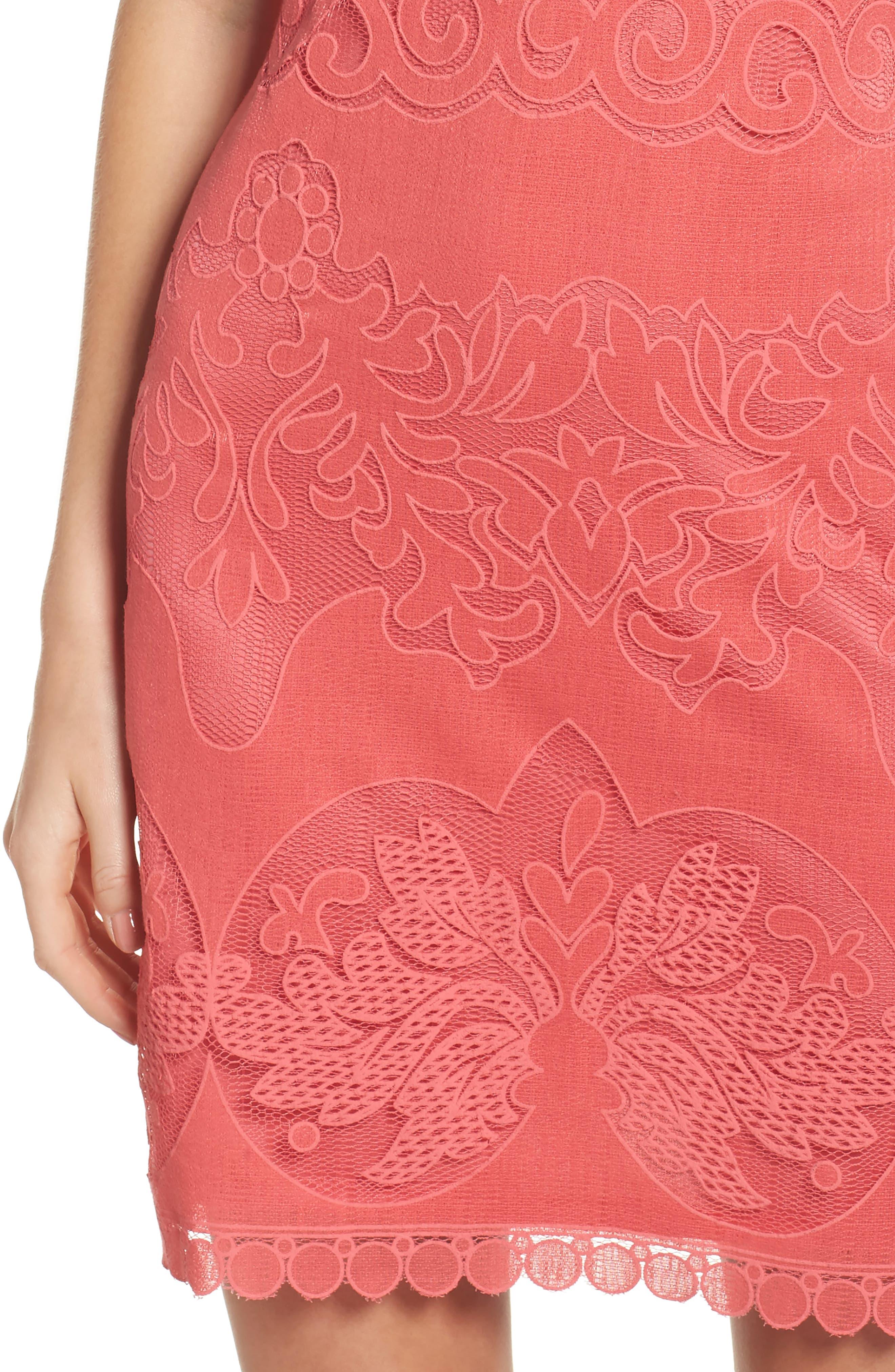 Sleeveless Scallop Hem Sheath Dress,                             Alternate thumbnail 4, color,                             Coral