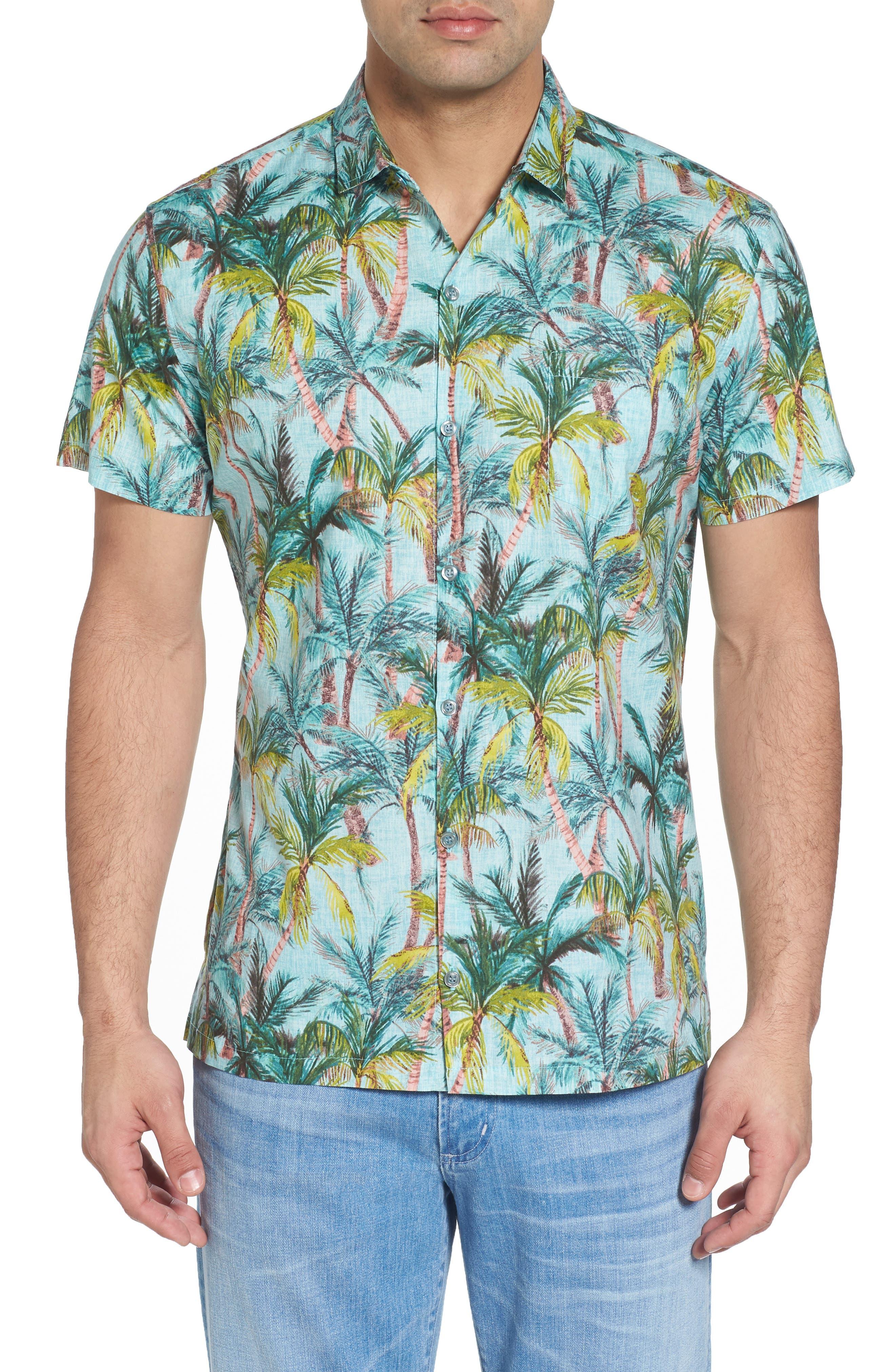 Coco Vida Trim Fit Print Cotton Lawn Sport Shirt,                             Main thumbnail 1, color,                             Surf