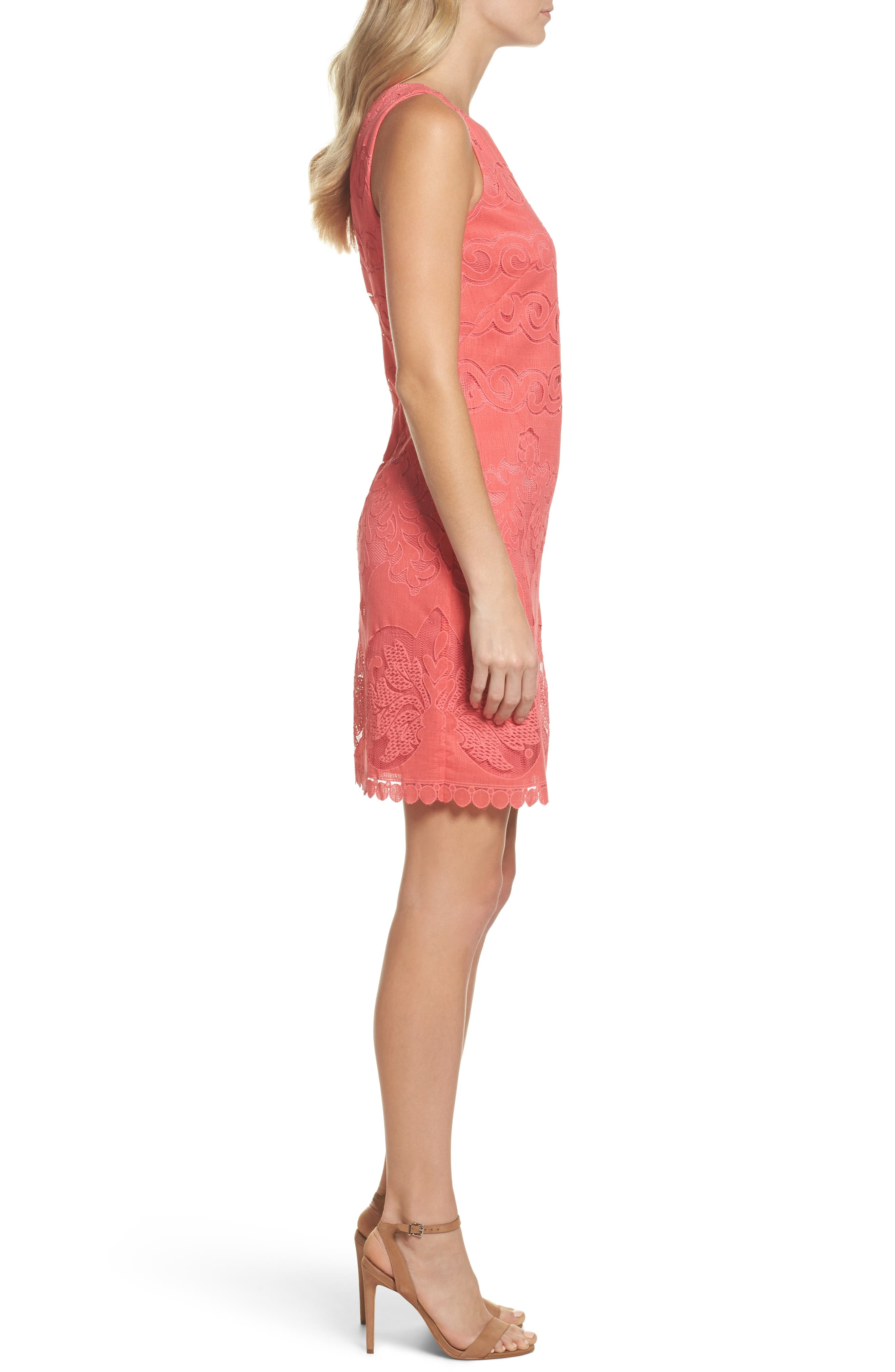 Sleeveless Scallop Hem Sheath Dress,                             Alternate thumbnail 3, color,                             Coral