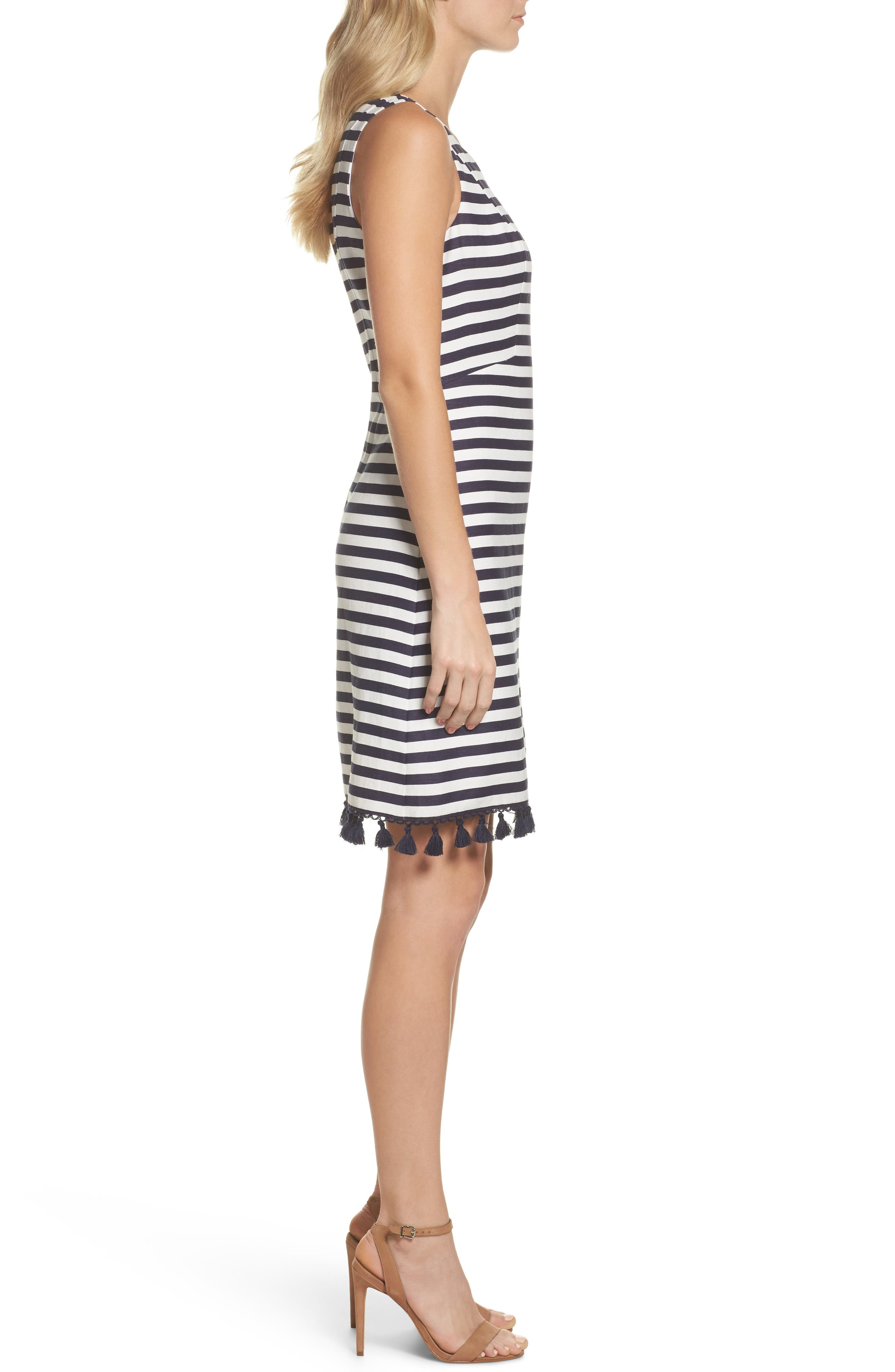Stripe A-Line Dress,                             Alternate thumbnail 3, color,                             Navy/ White