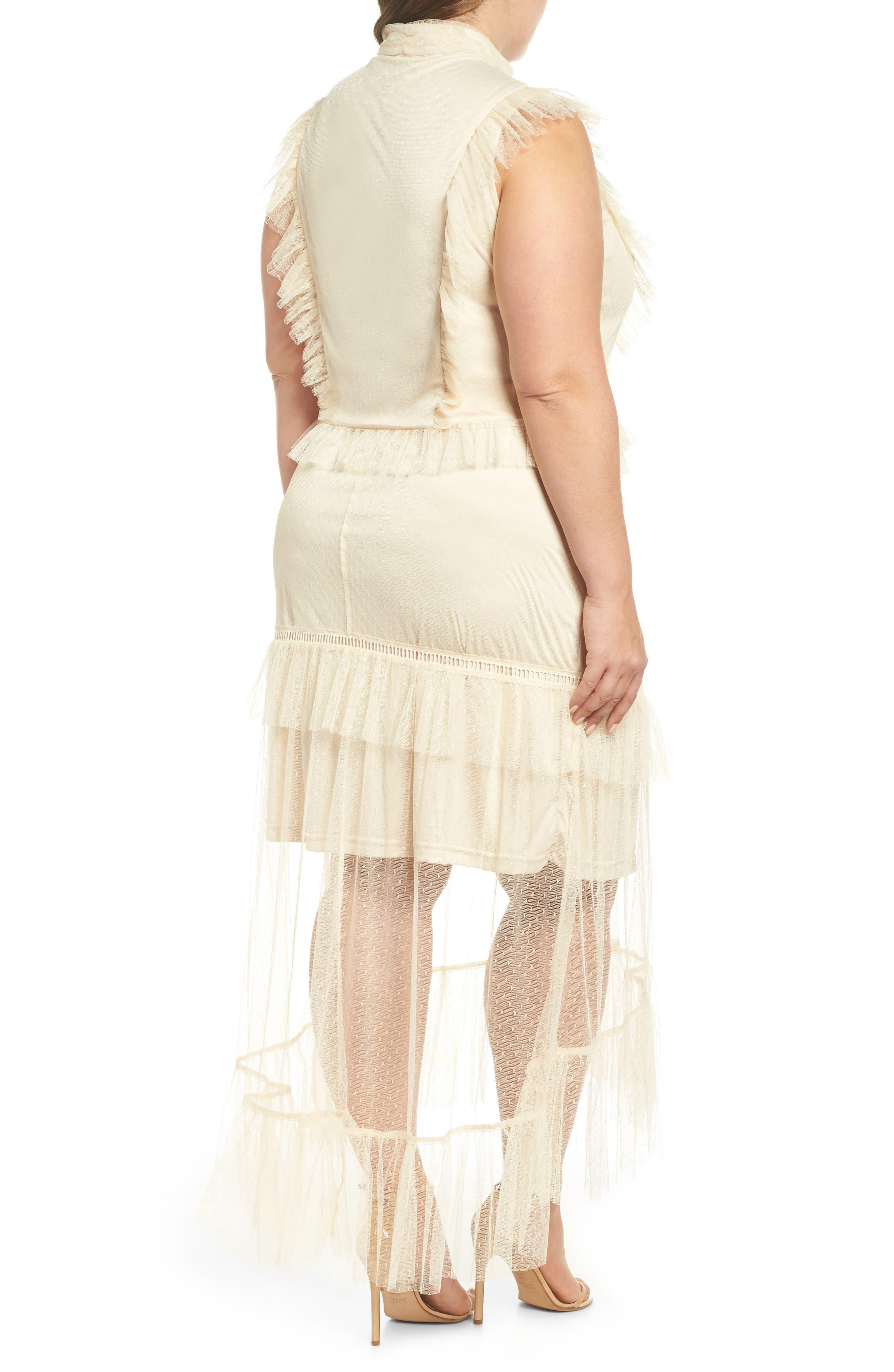 Ruffle Sheer Hem Maxi Dress,                             Alternate thumbnail 2, color,                             Cream