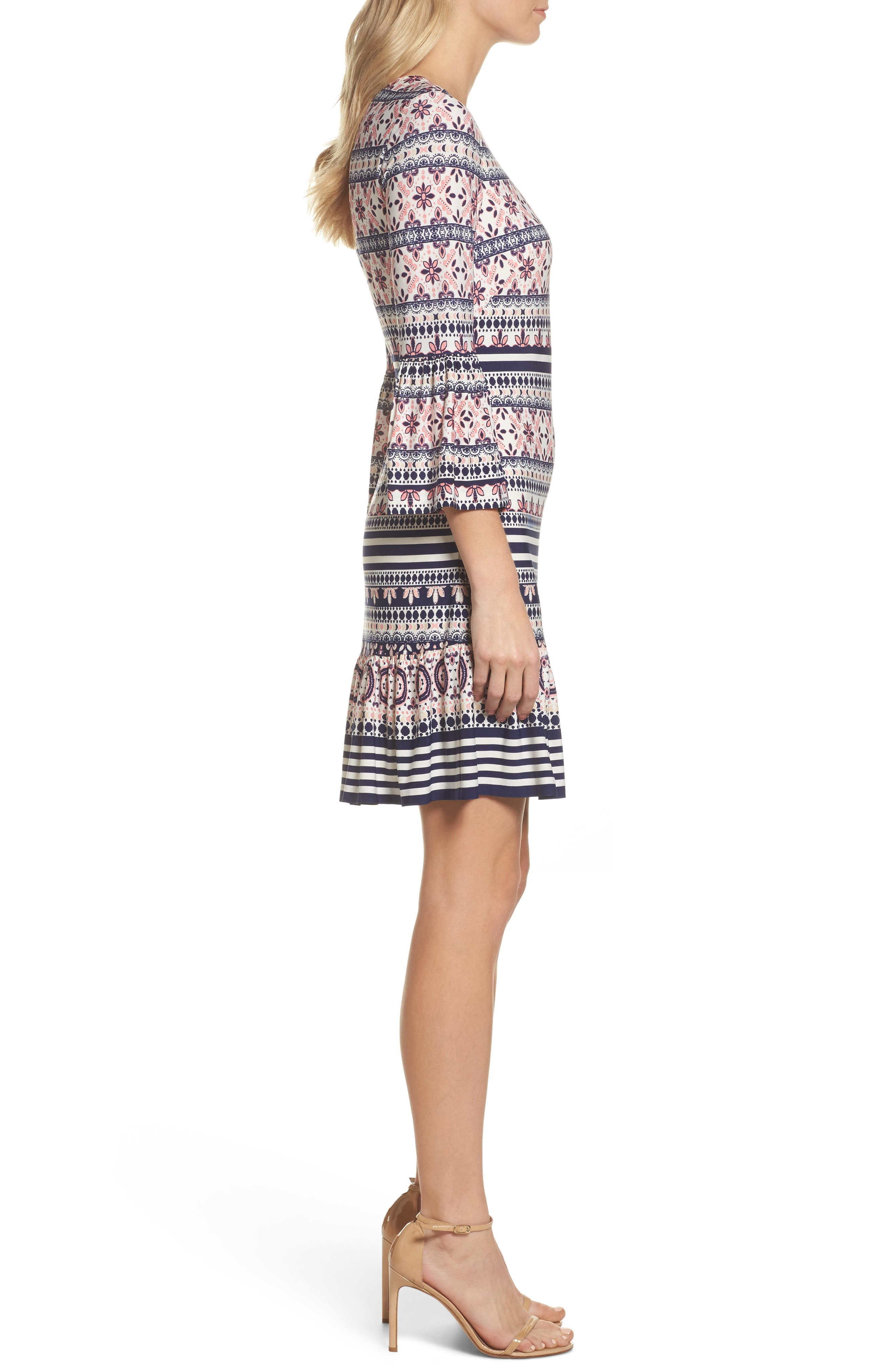 Bell Sleeve Flounce Dress,                             Alternate thumbnail 3, color,                             Pink