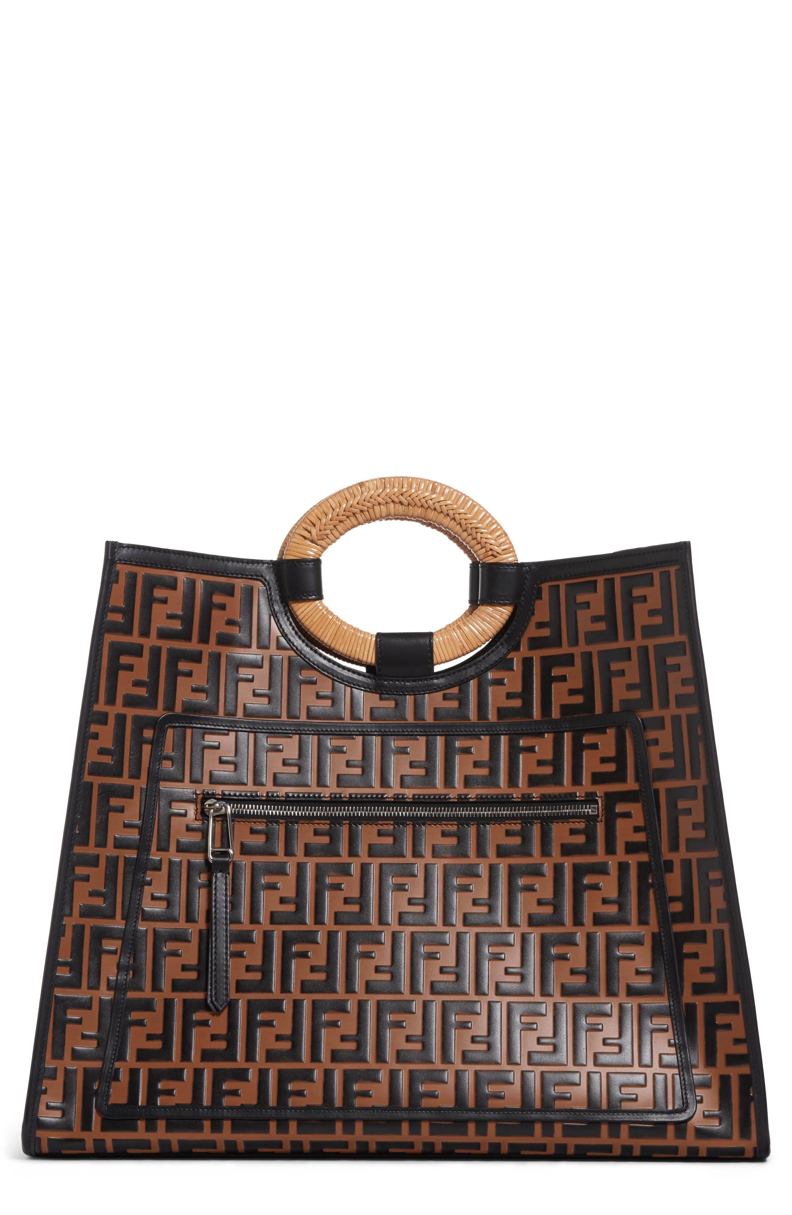 Fendi Runaway Logo Leather Shopper