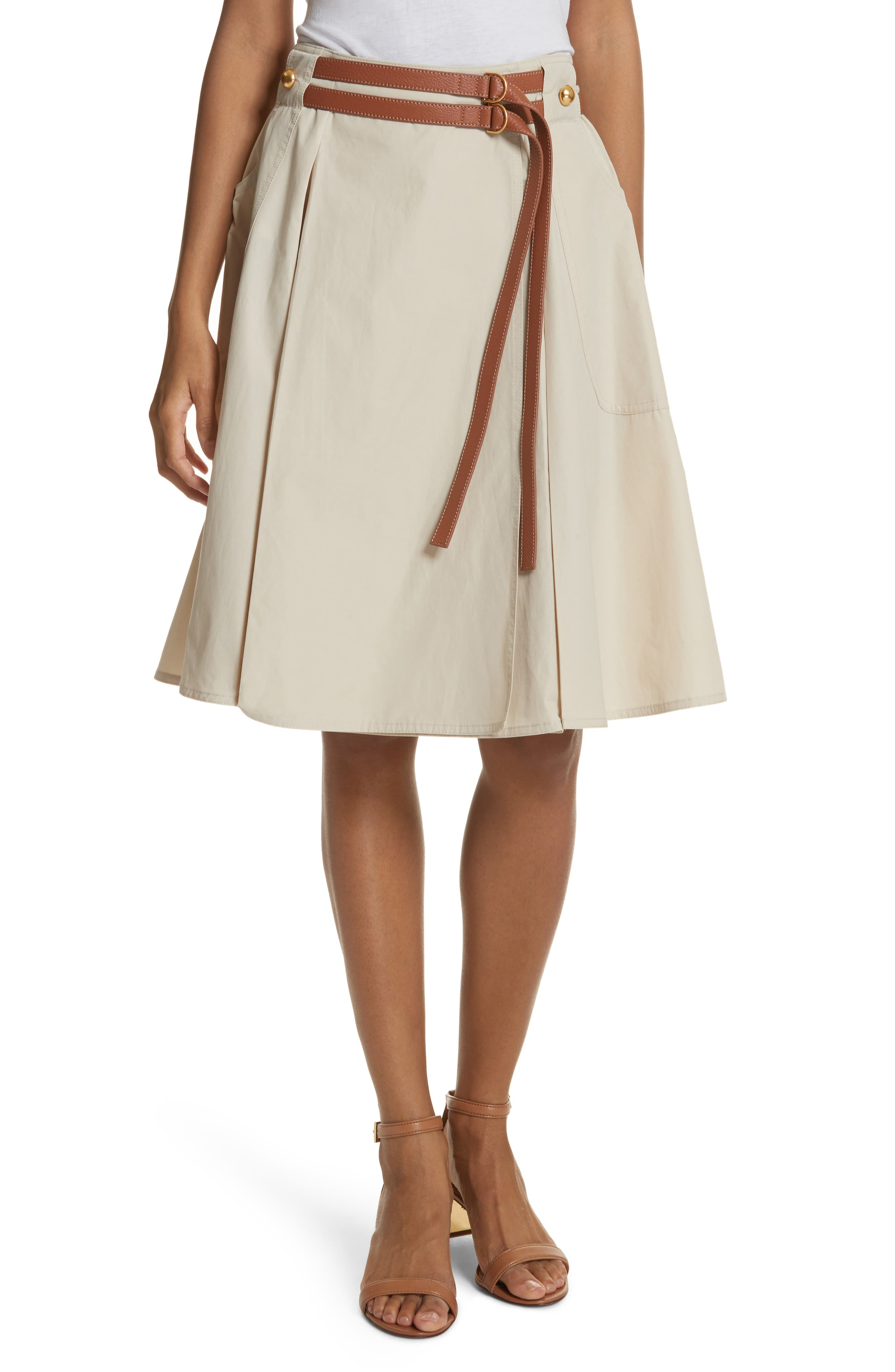 Betsy Belted Flare Skirt,                             Main thumbnail 1, color,                             Pale Stone