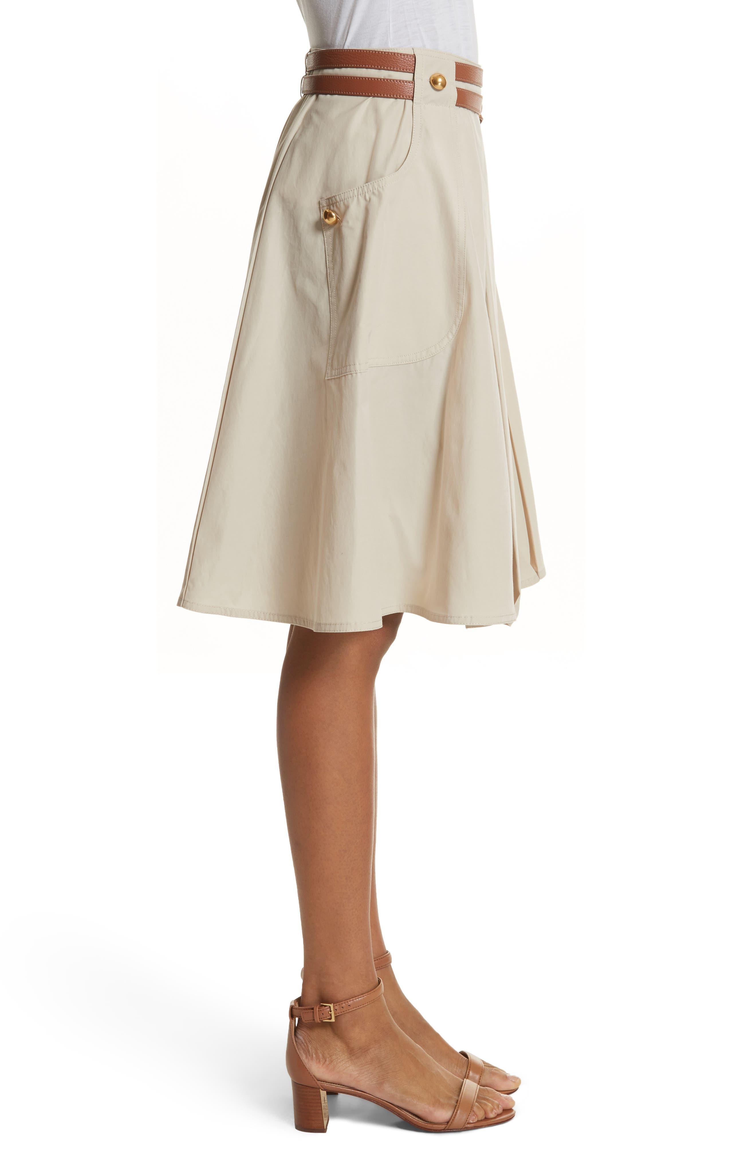 Betsy Belted Flare Skirt,                             Alternate thumbnail 3, color,                             Pale Stone