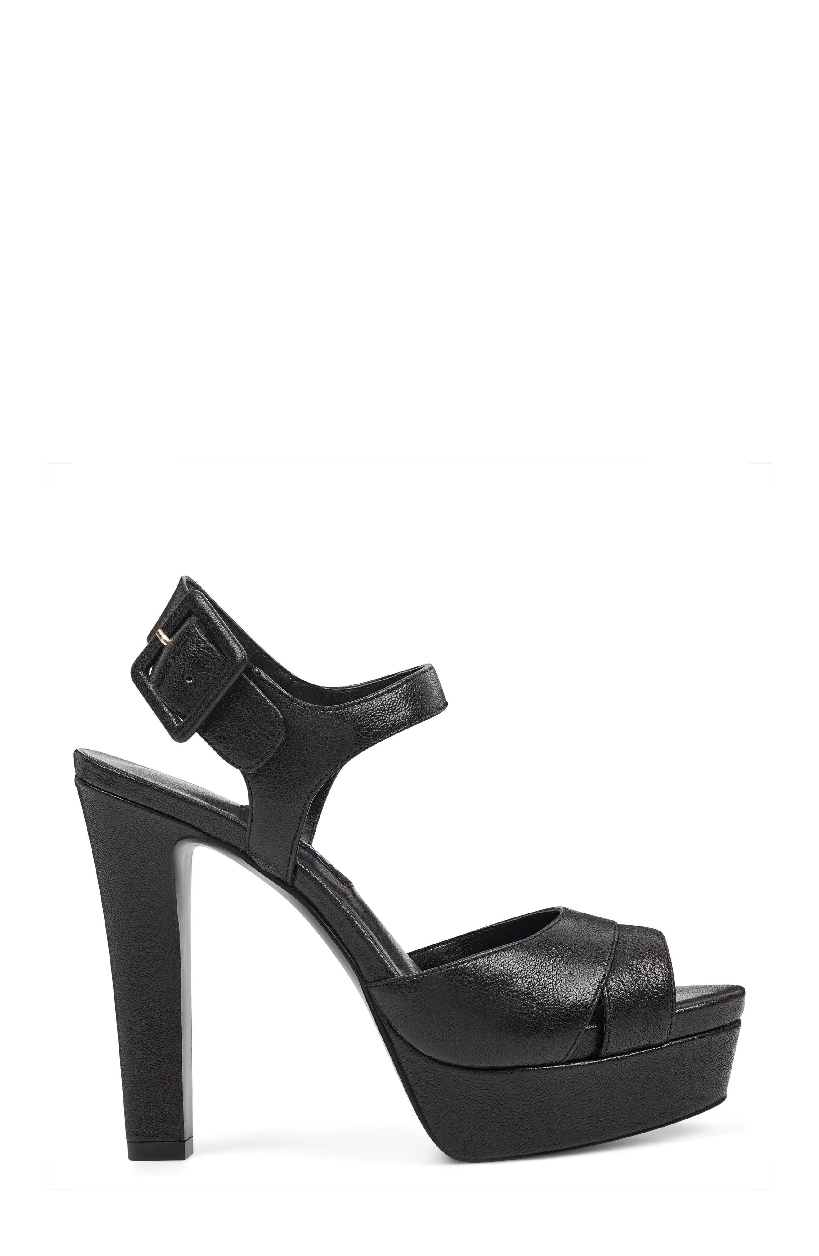 Ibyn Platform Sandal,                             Alternate thumbnail 3, color,                             Black Leather