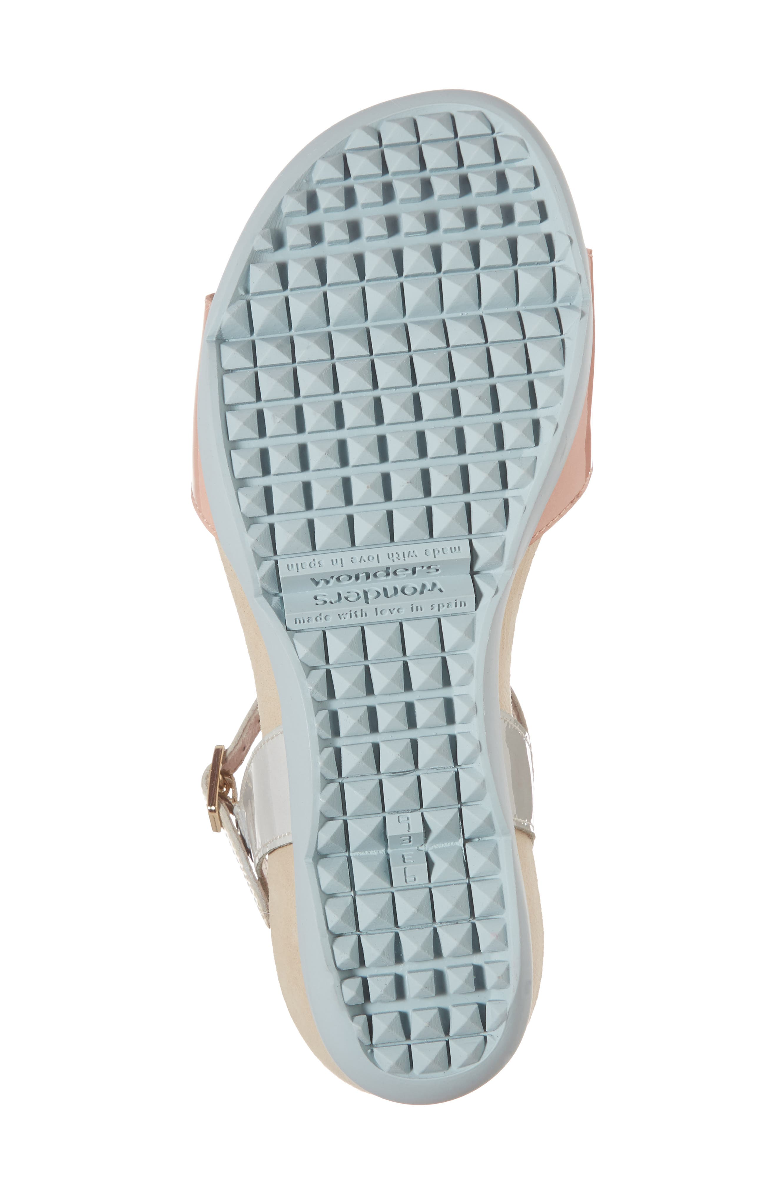 Wedge Sandal,                             Alternate thumbnail 6, color,                             Nude/ Off/ Light Grey Leather